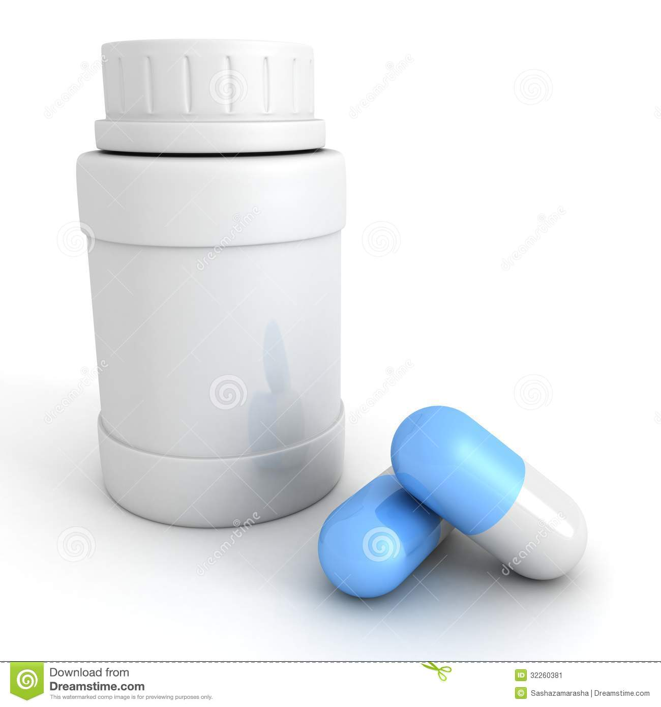 Blue medical pills with white bottle container 3d.