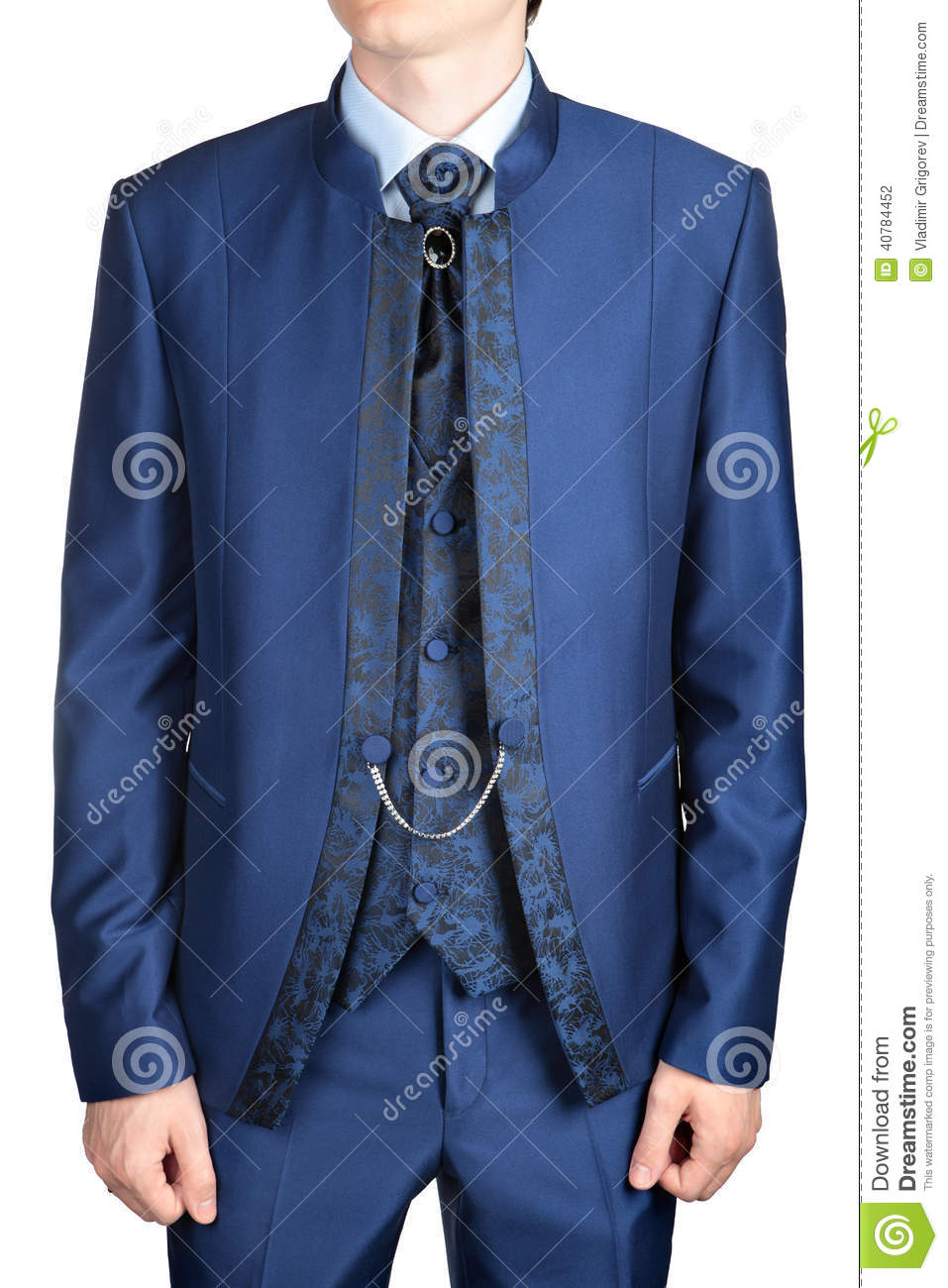Blue Men Wedding Suit Or Evening Dress, Isolated On White Stock ...