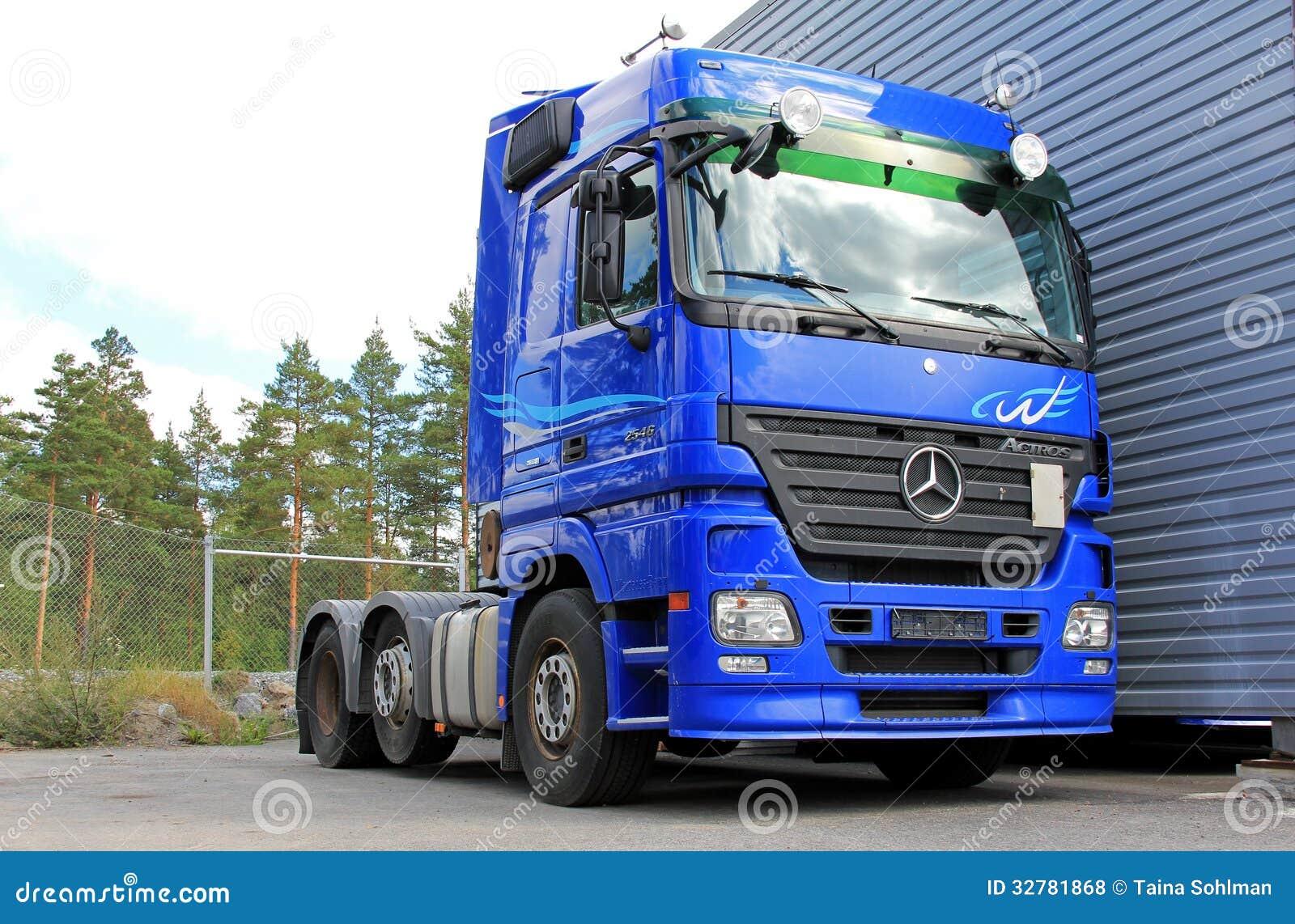 Blue mercedes benz actros 2546 truck editorial stock photo for Mercedes benz box truck