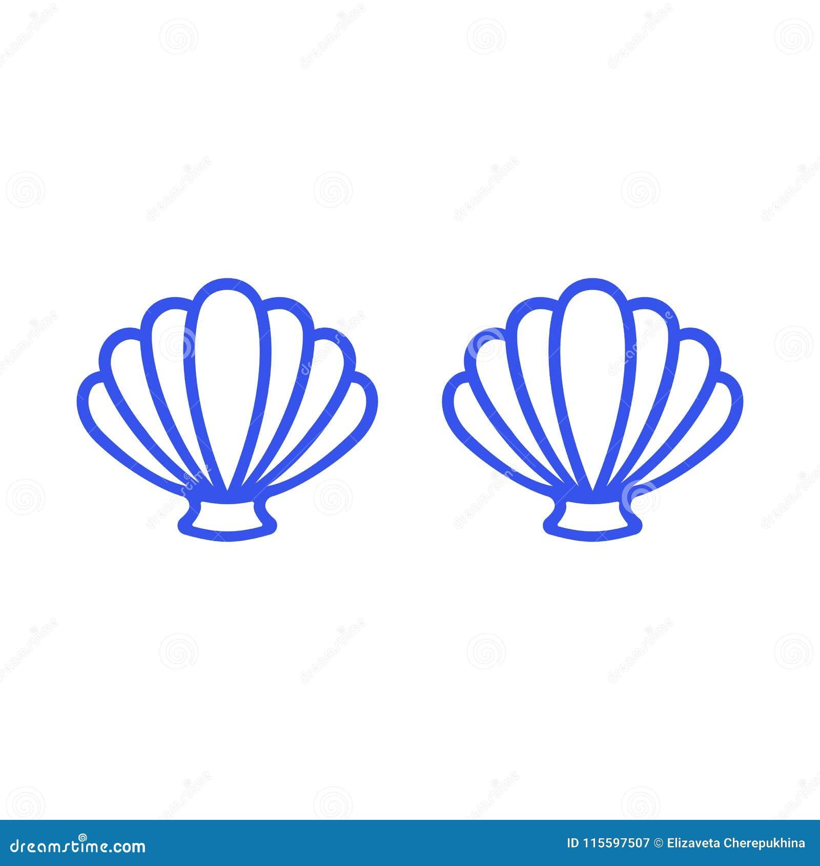 Blue mermaid bra. Outline mermaid top - t-shirt design. Scallop sea shell. Clam. Conch. Seashell - flat vector