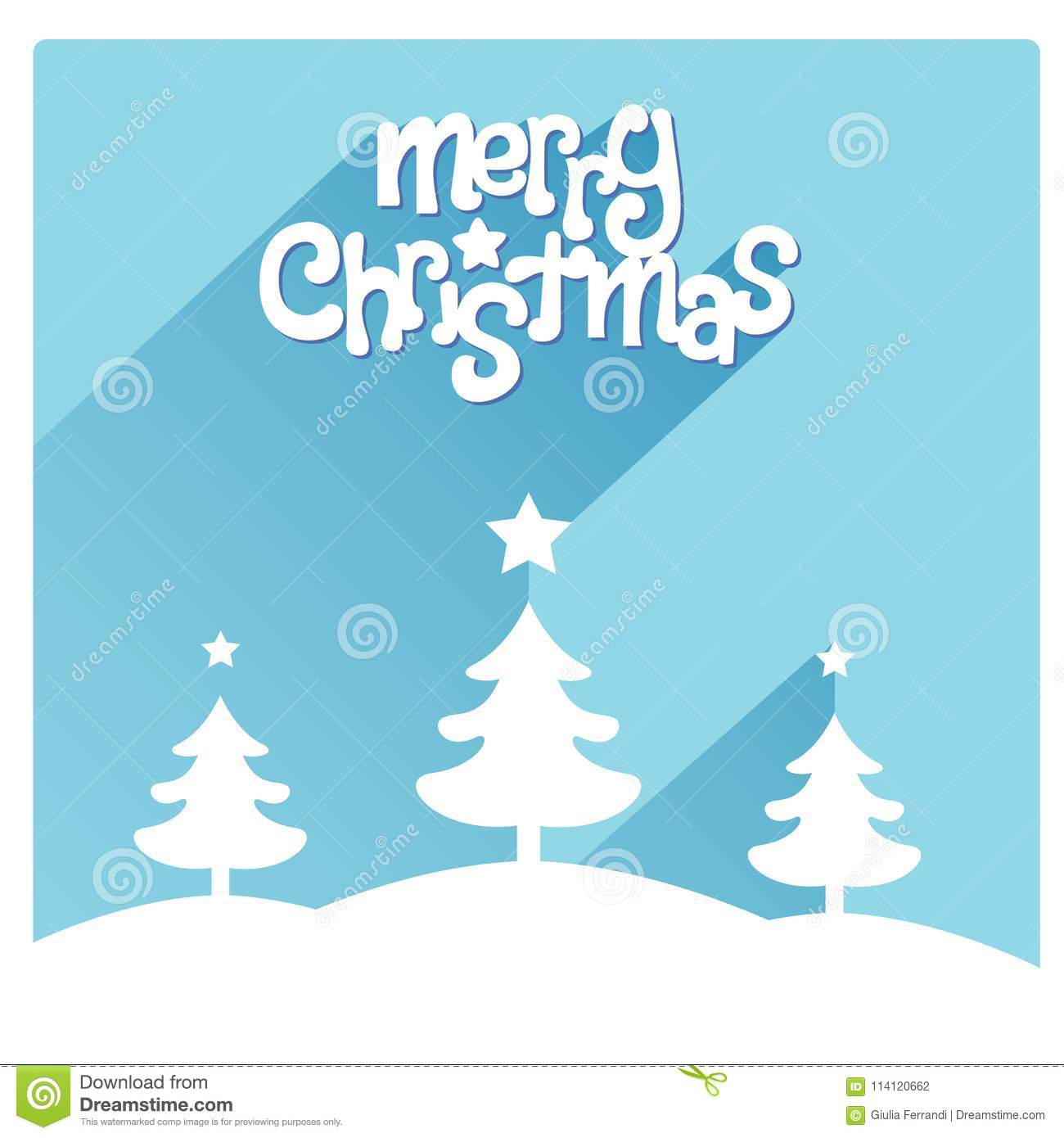 Blue Merry Christmas Greeting Cards With Snow, Trees And A Nice ...