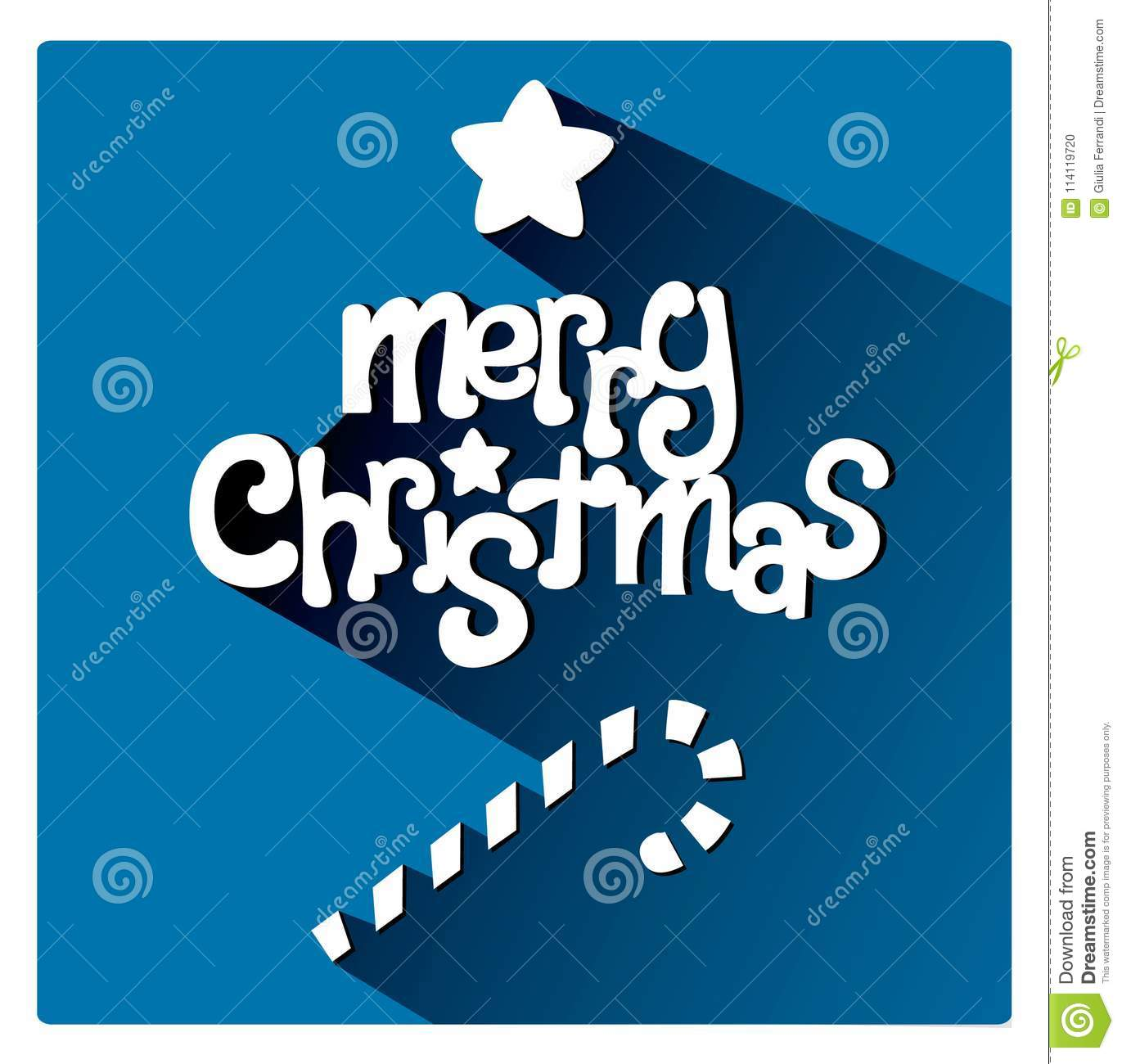 Blue Merry Christmas Greetings Card With Sweet Candle Bar Stock