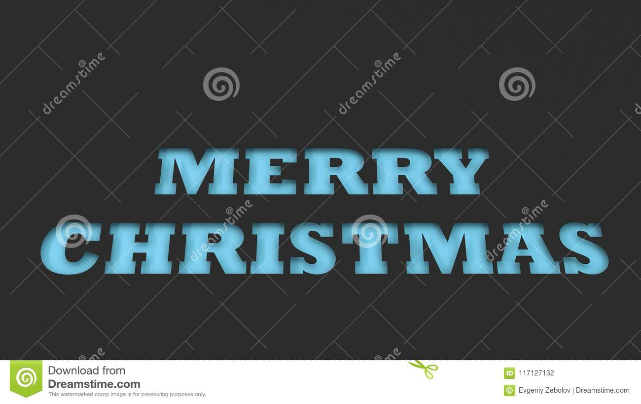 blue merry christmas words cut in black paper