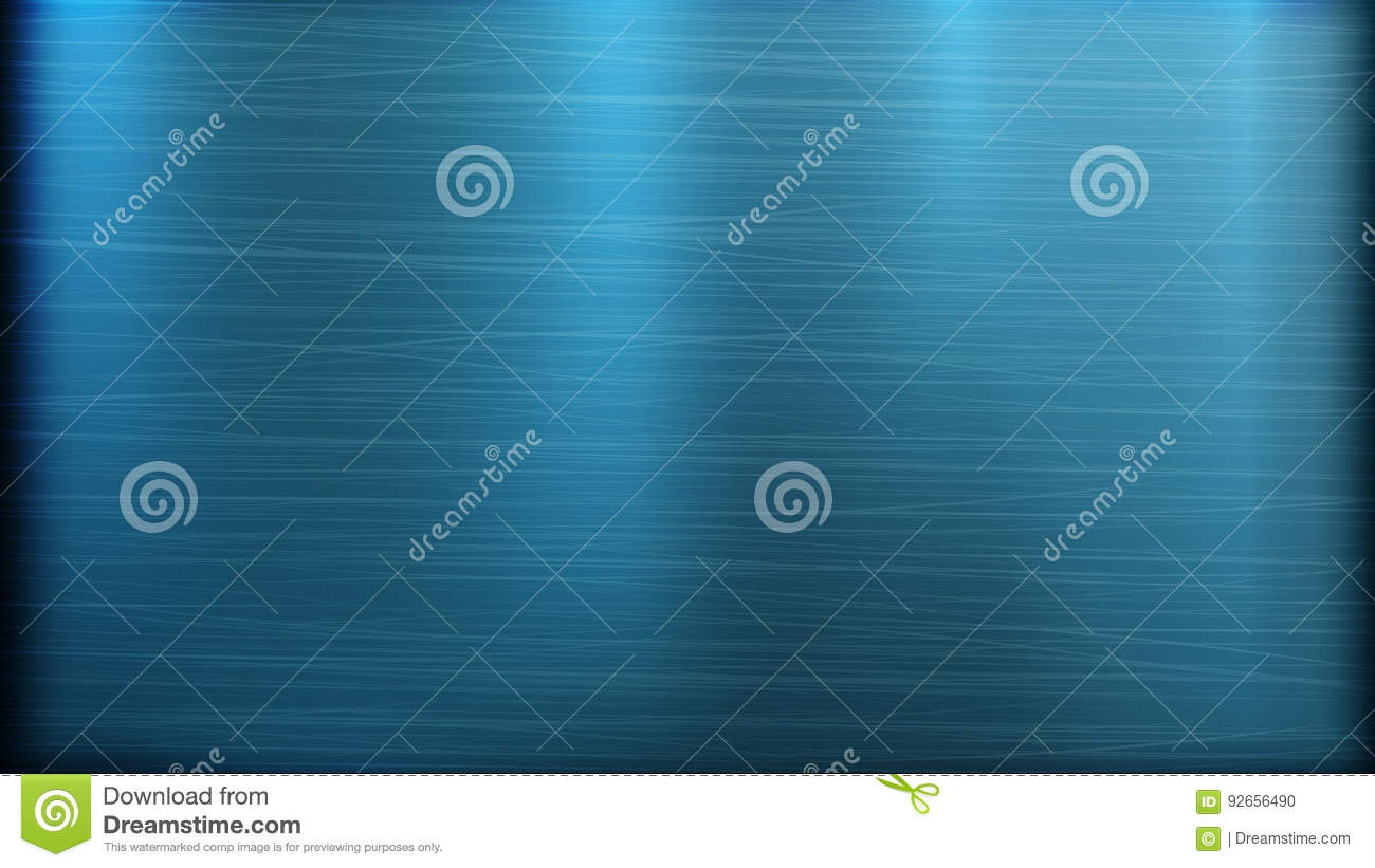 Blue Metal Abstract Technology Background. Polished, Brushed Texture. Chrome, Silver, Steel, Aluminum. Vector illustration.