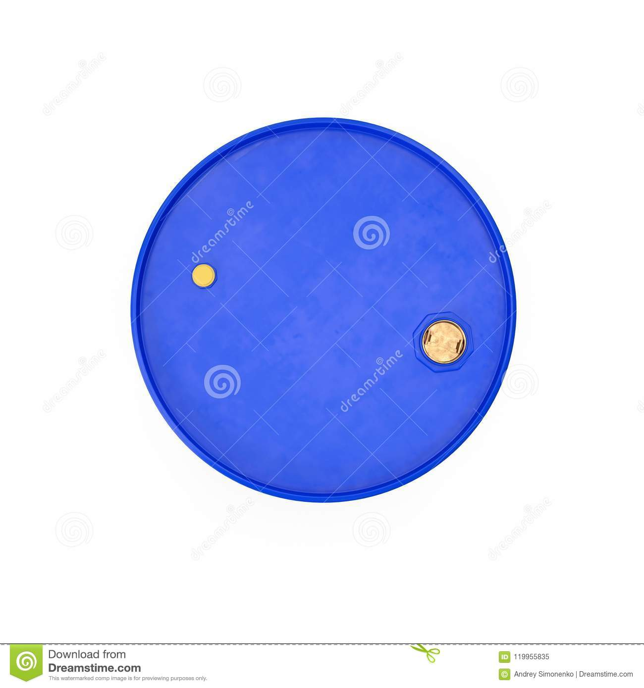 Blue Metal Oil Drum Isolated on White. Top view. 3D illustration