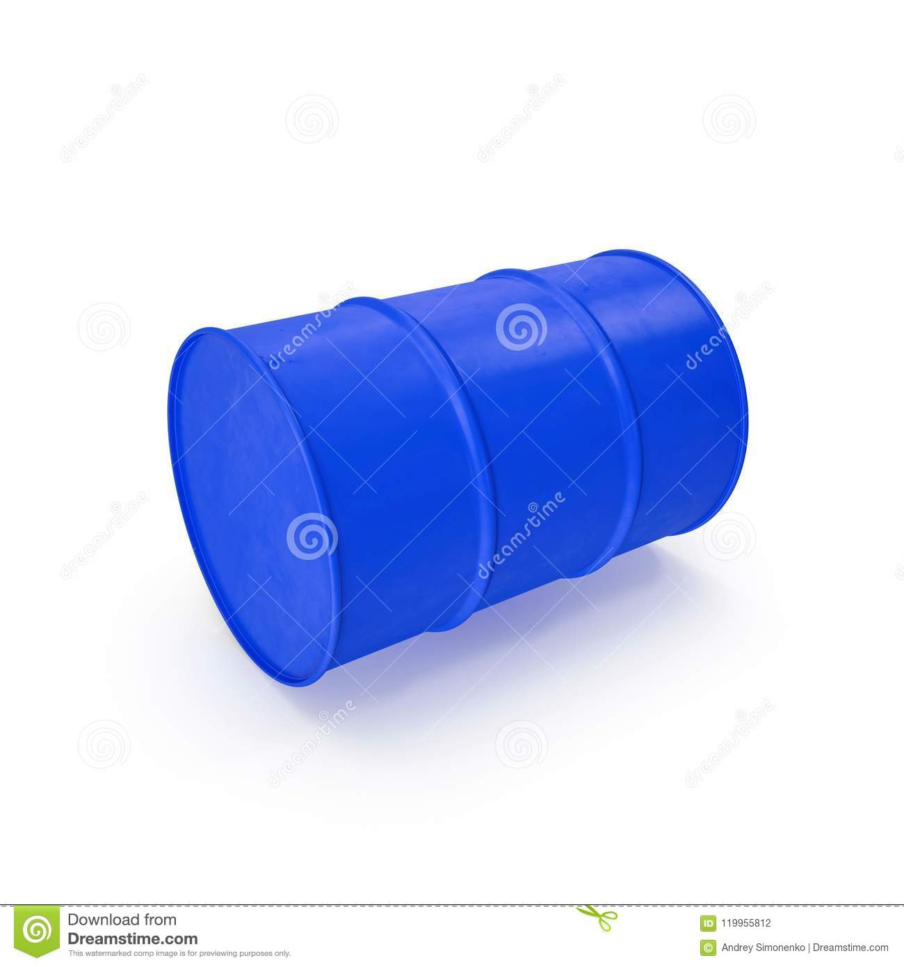 Blue Metal Oil Drum Isolated on White. 3D illustration