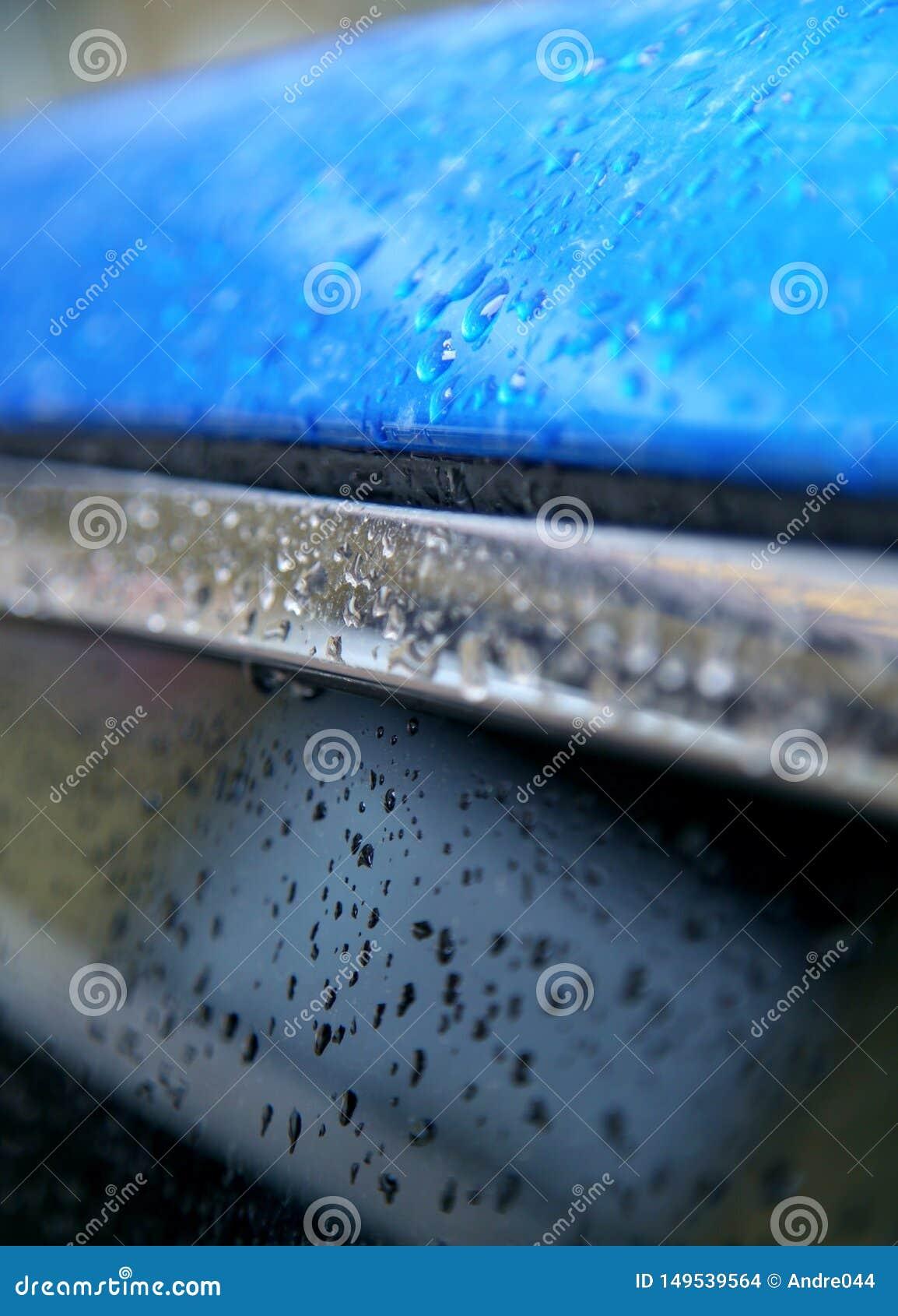 Blue metallic surface.