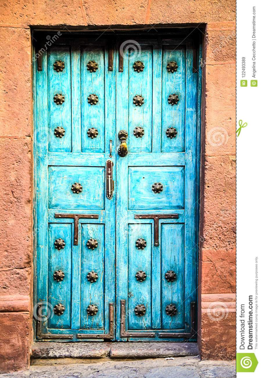 Blue Mexican Front Doors with Copper Door Handle