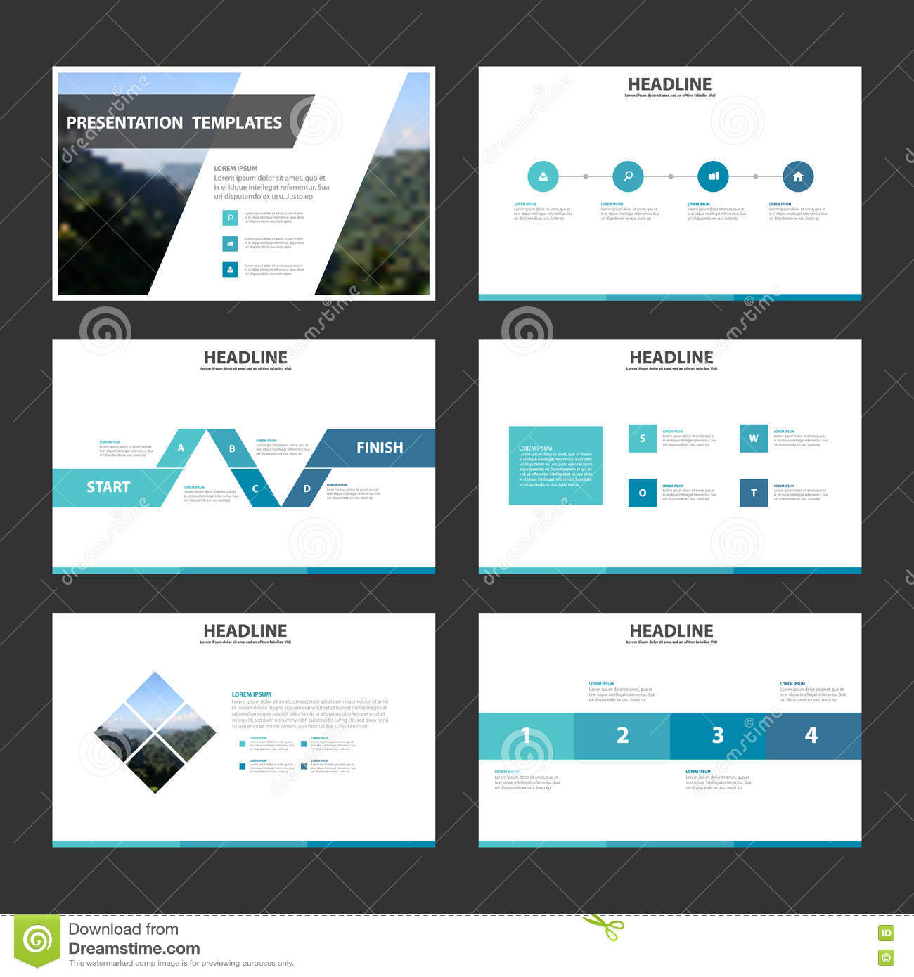 blue minimal presentation templates infographic elements flat, Presentation templates