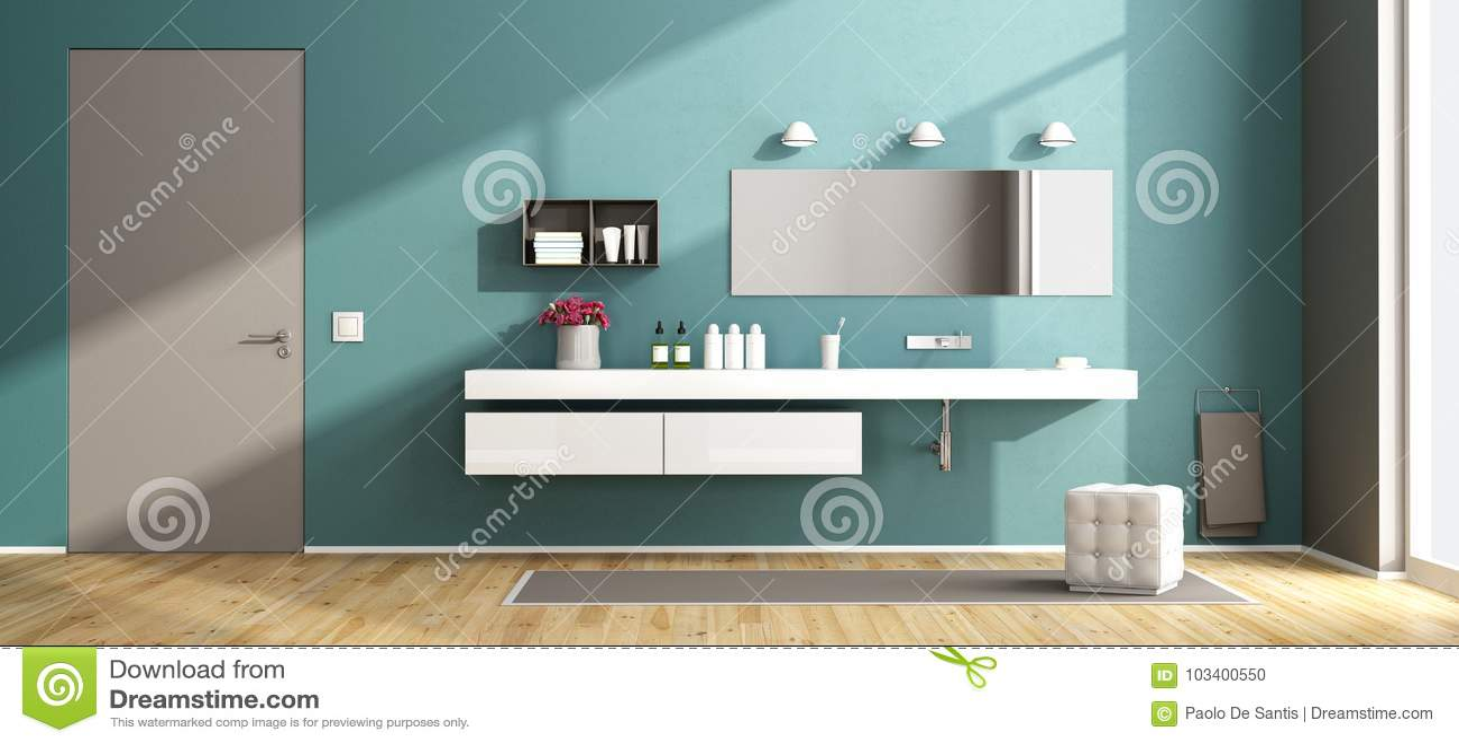 Blue modern bathroom stock illustration. Illustration of home ...
