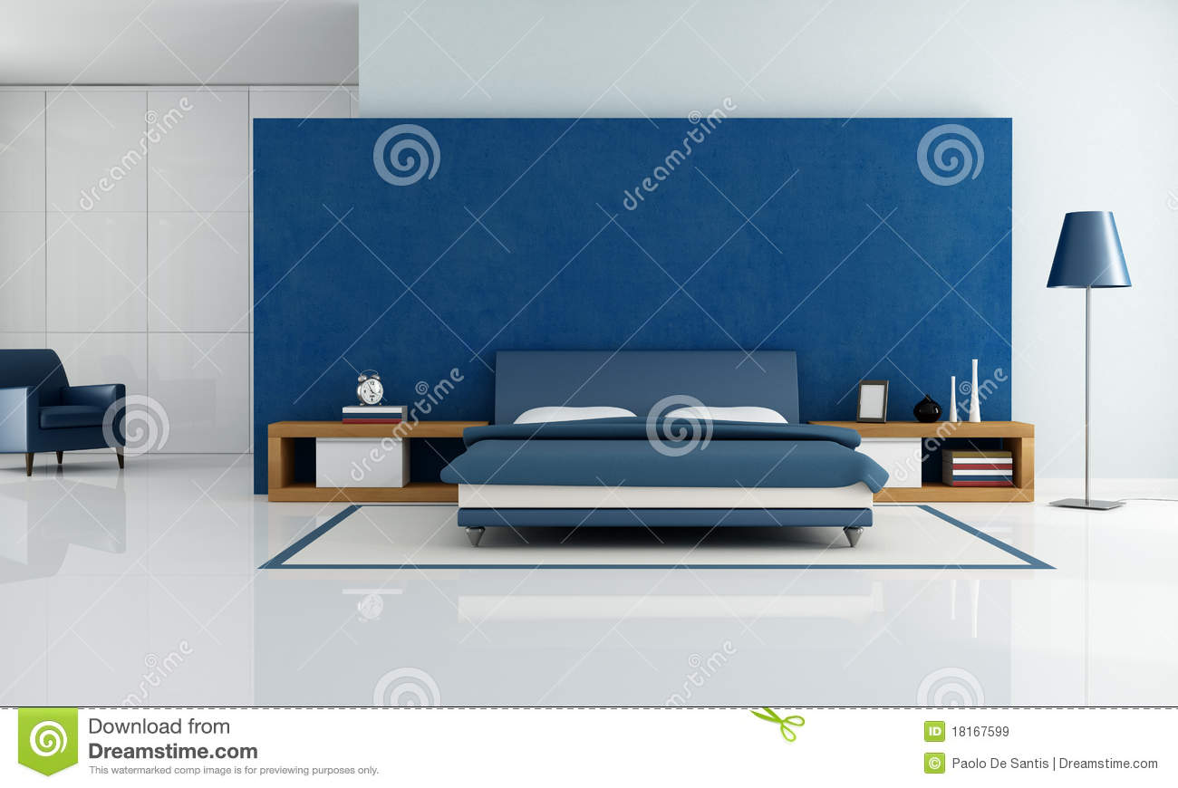 Modern Bedroom Blue blue modern bedroom royalty free stock images - image: 18167599