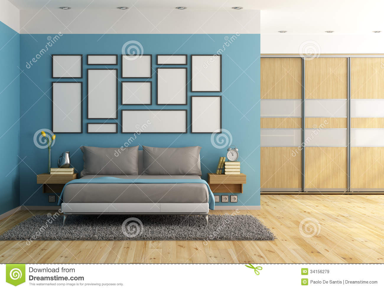 Blue Modern Bedroom Stock Illustration Image Of Furniture
