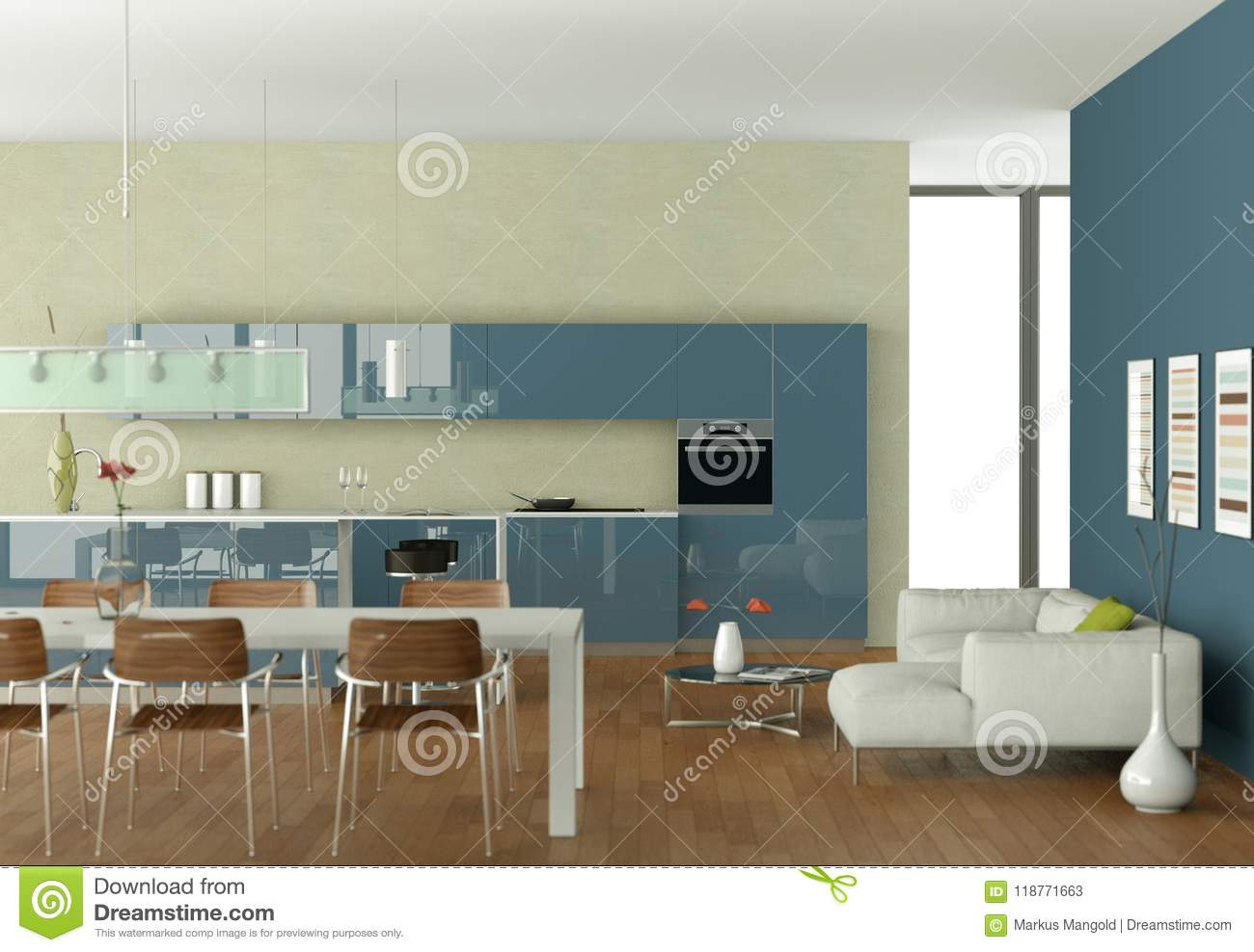 Blue Modern Kitchen With Dining Table And White Sofa Stock