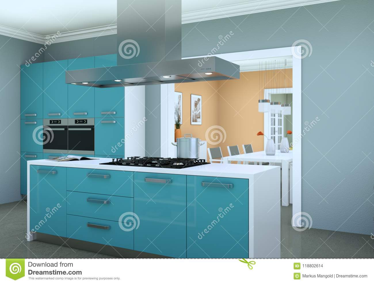 Blue Modern Kitchen In A Flat With Beautiful Design Stock ...
