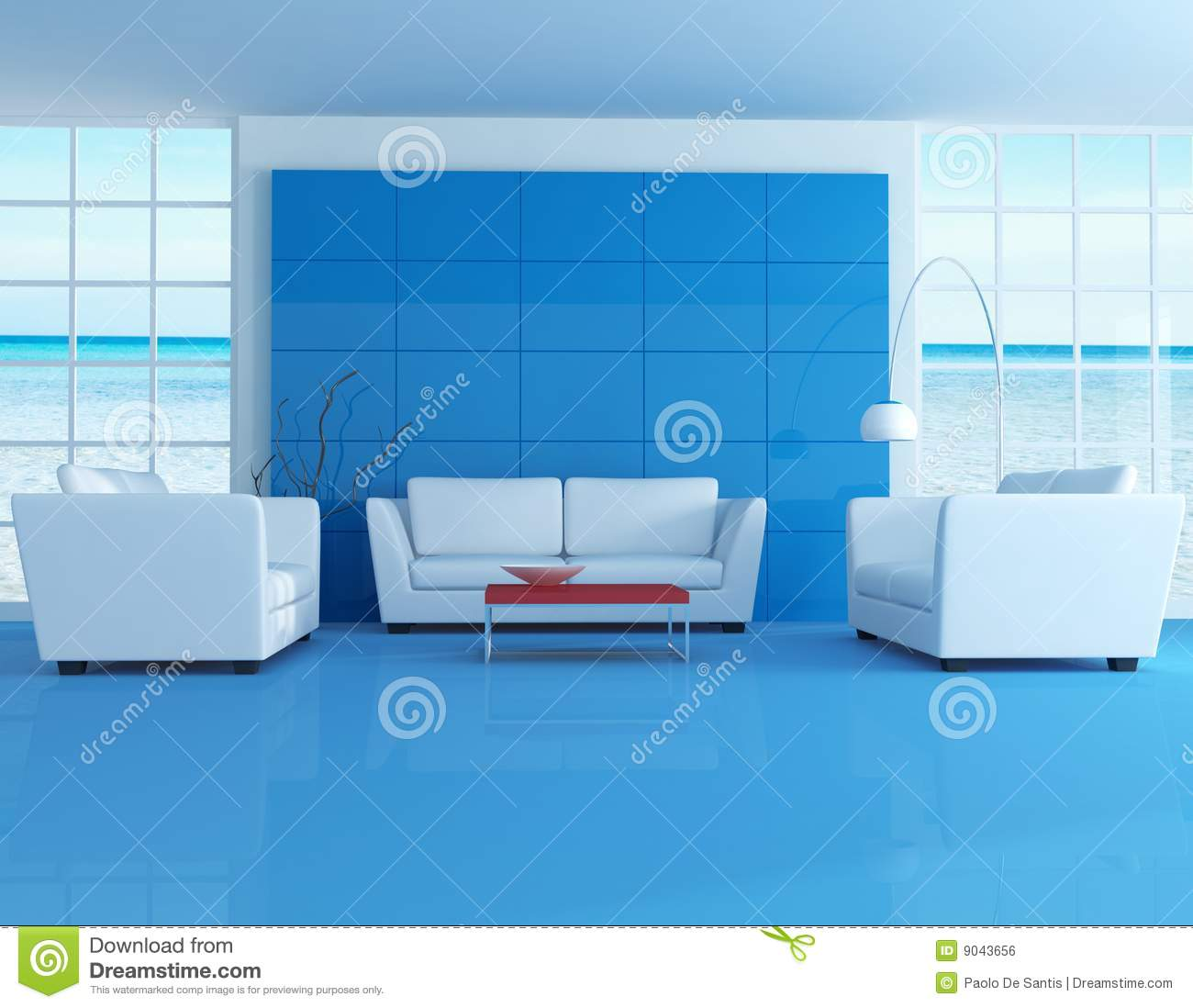Blue living room modern room royalty free stock photo for Modern living room blue