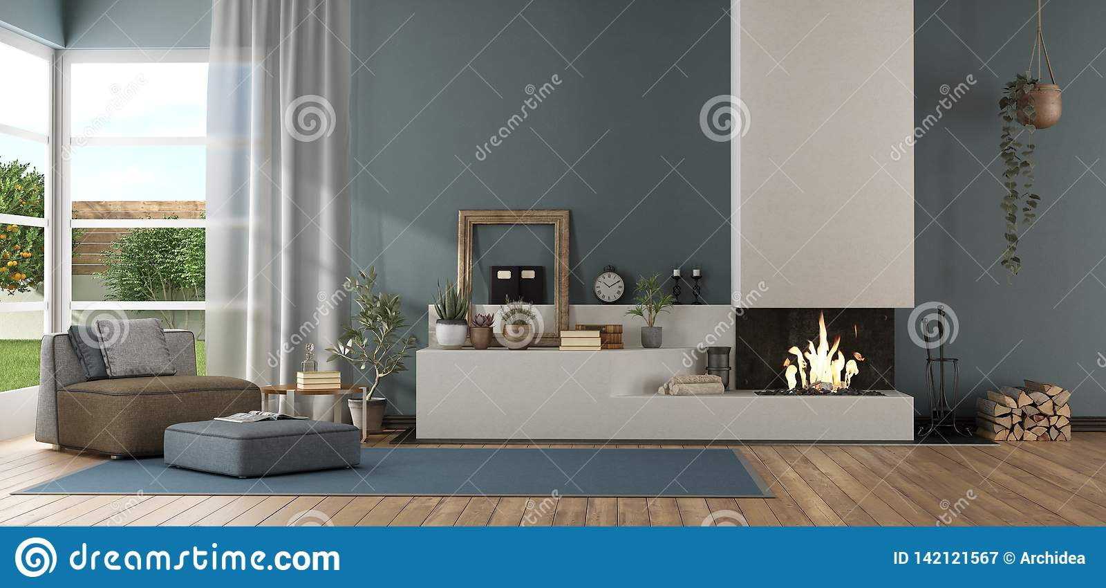 Blue Modern Living Room With Fireplace Stock Illustration
