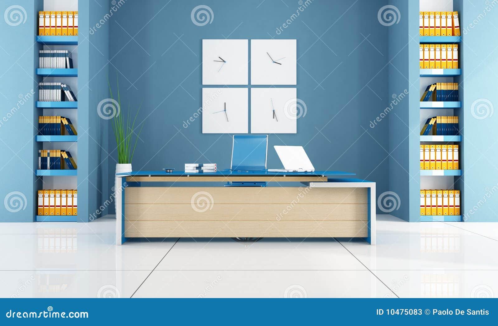 Blue Modern Office Space Stock Illustration Illustration