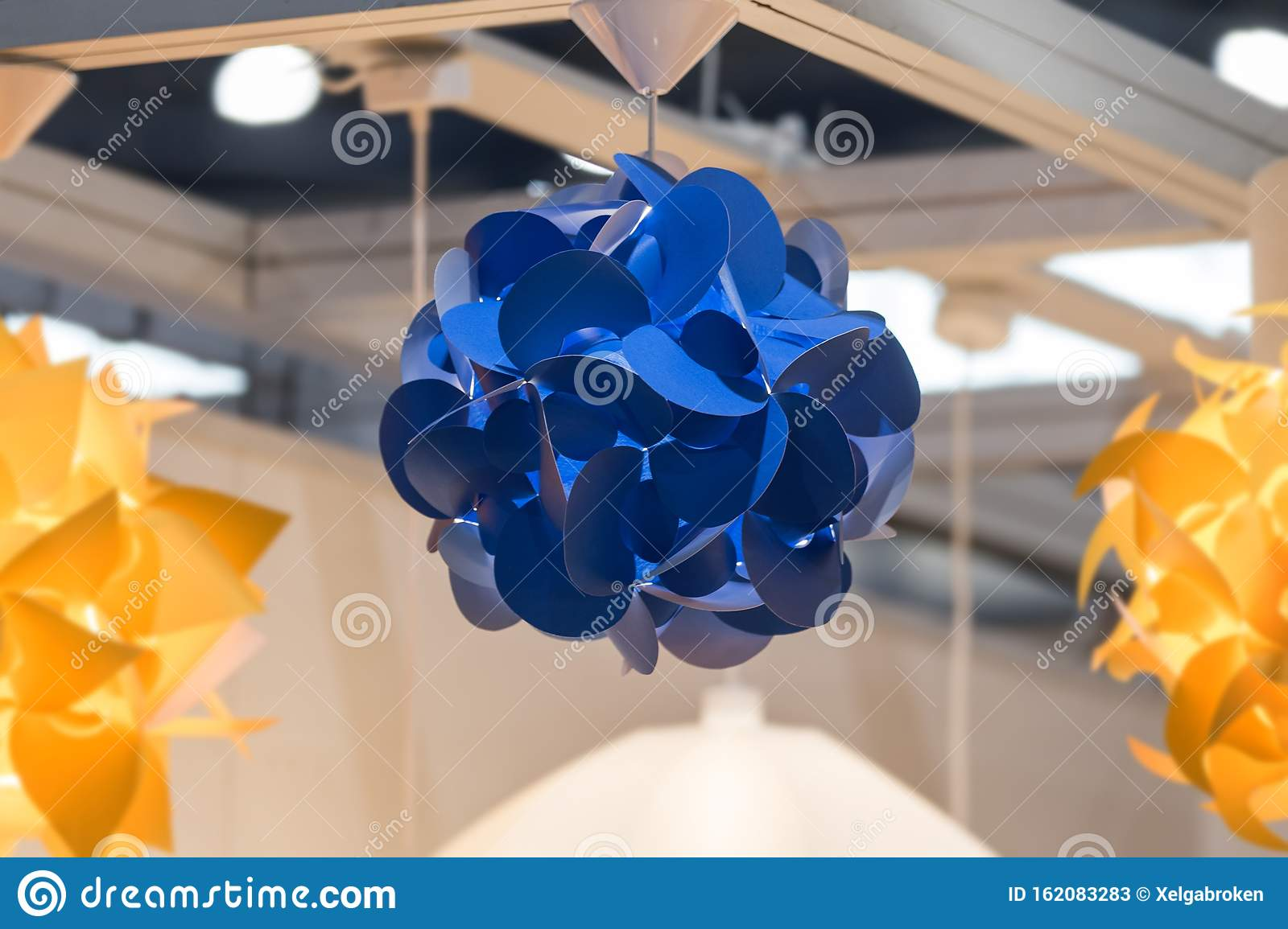 Blue Modern Pendant Light Paper Chandelier In Scandinavian Nordic Style Chandelier Made With Plastic With Several Geometric Stock Image Image Of Interior Detail 162083283