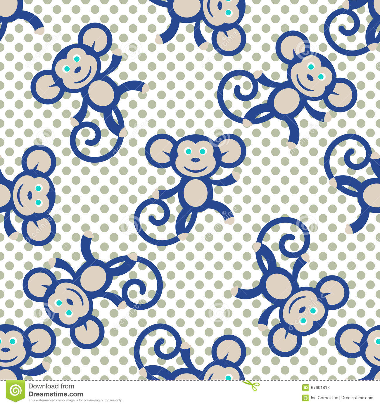 Blue monkey kid seamless vector pattern for textile print for Cute baby fabric prints