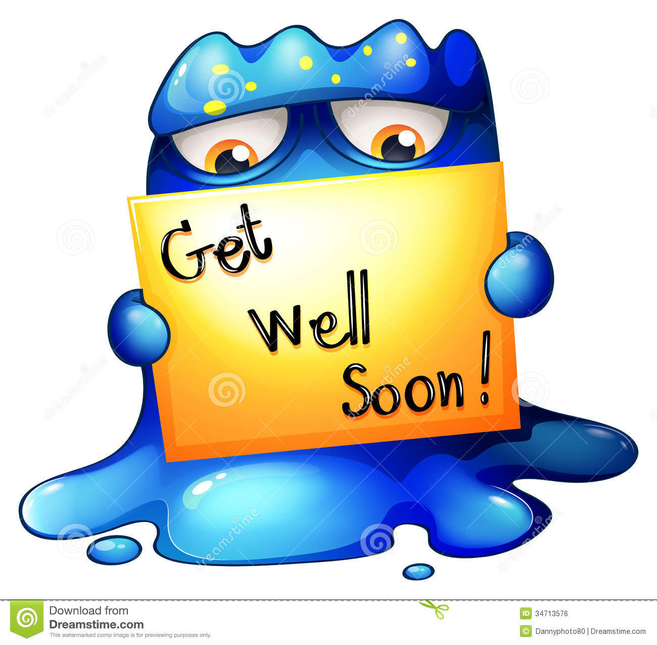 A blue monster holding a get well soon card stock for Well pictures