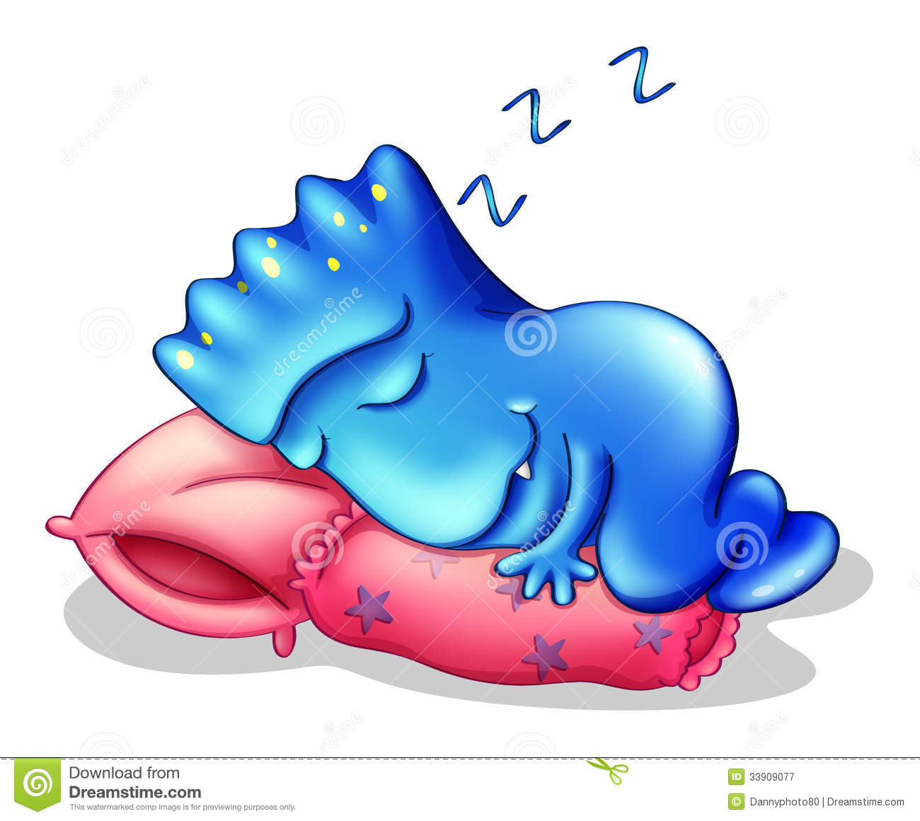 A Blue Monster Sleeping Above A Pillow Royalty Free Stock ...