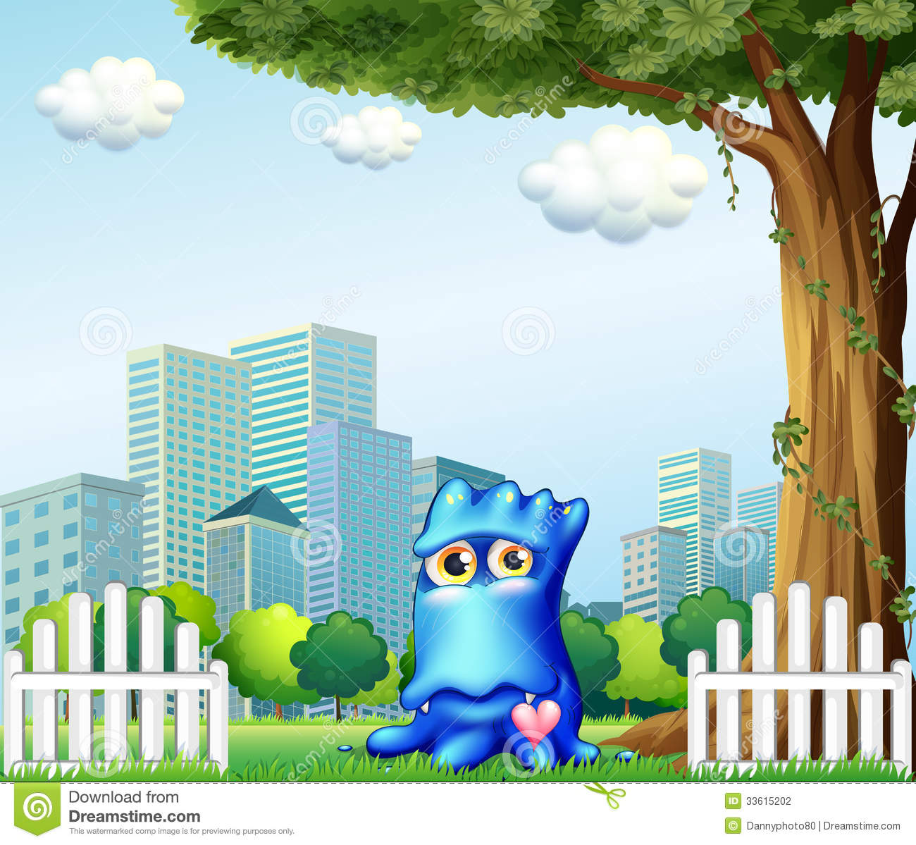A blue monster standing near the fence across the tall for 1 2 3 4 monsters walking across the floor