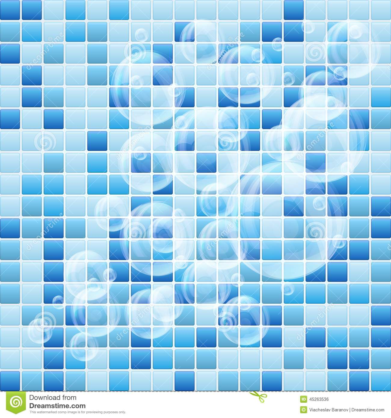 Blue Mosaic Small Tile Texture Background Of Spa Stock Illustration