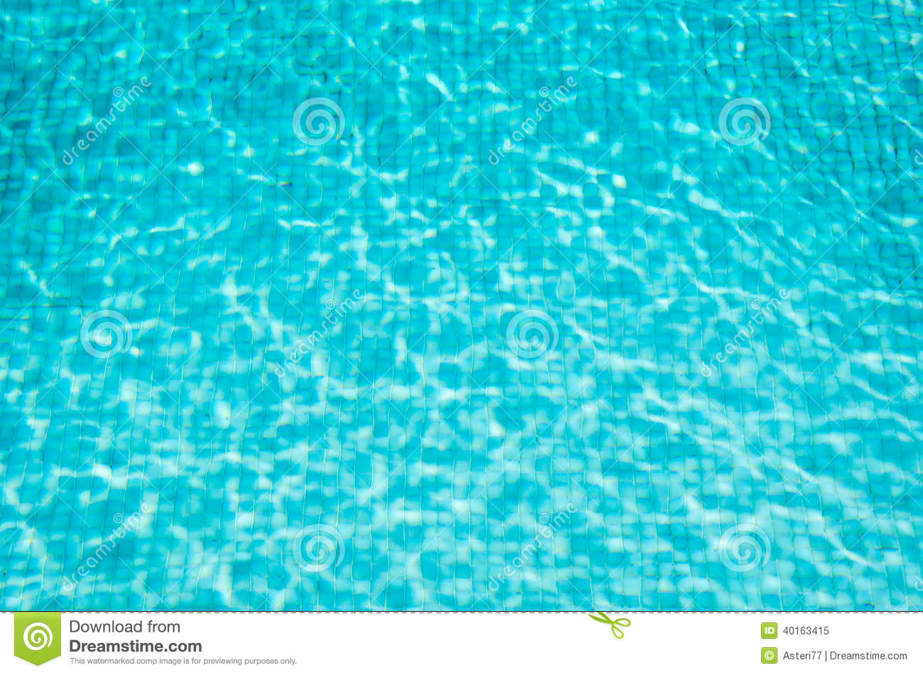 Blue Mosaic Swimming Pool With Clear Water Background Stock Photo