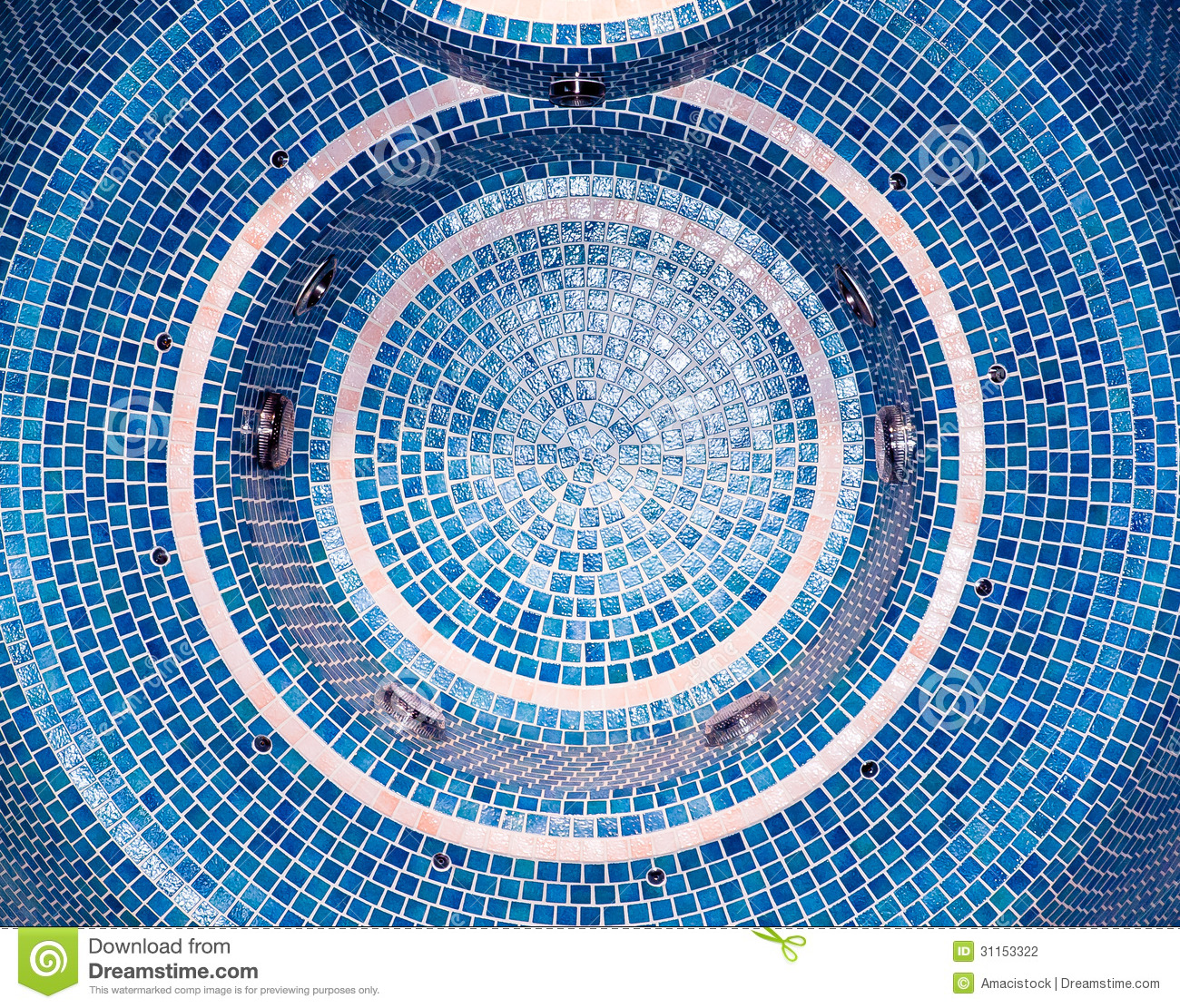 Blue Mosaic Tile Stock Photo Image Of Swimming Closeup