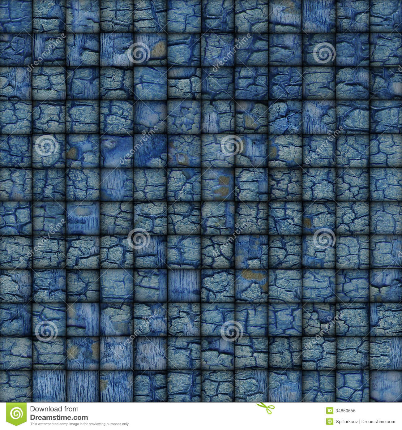 Blue Mosaic Tile Worn Old Wall Floor With Cracks Stock Photo - Image ...