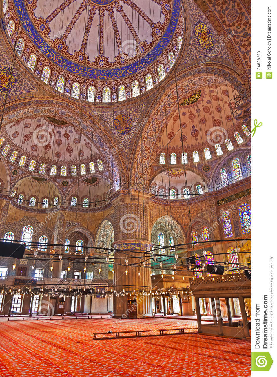 Blue Mosque Interior In Istanbul Turkey Stock Image ...