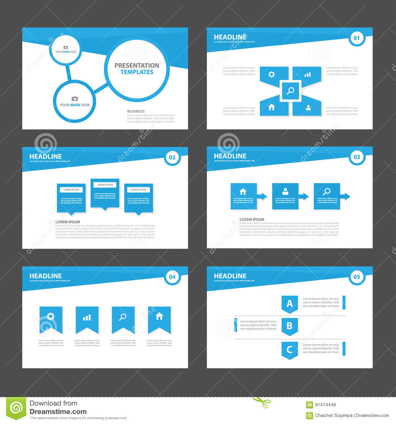 Blue Infographic elements and icon presentation template flat design set for advertising marketing brochure flyer leaflet