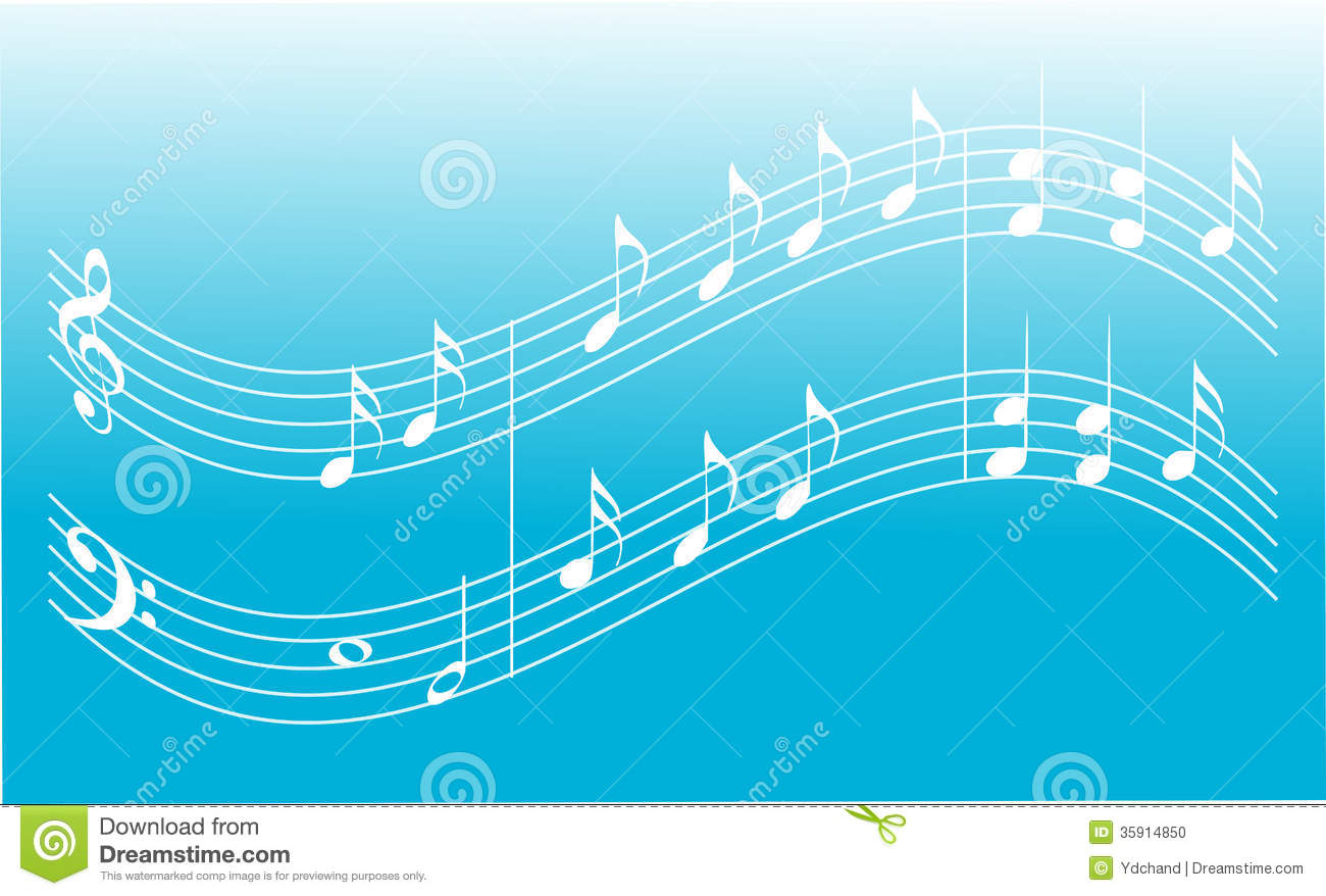 Blue music background with treble clef base clef and notes.