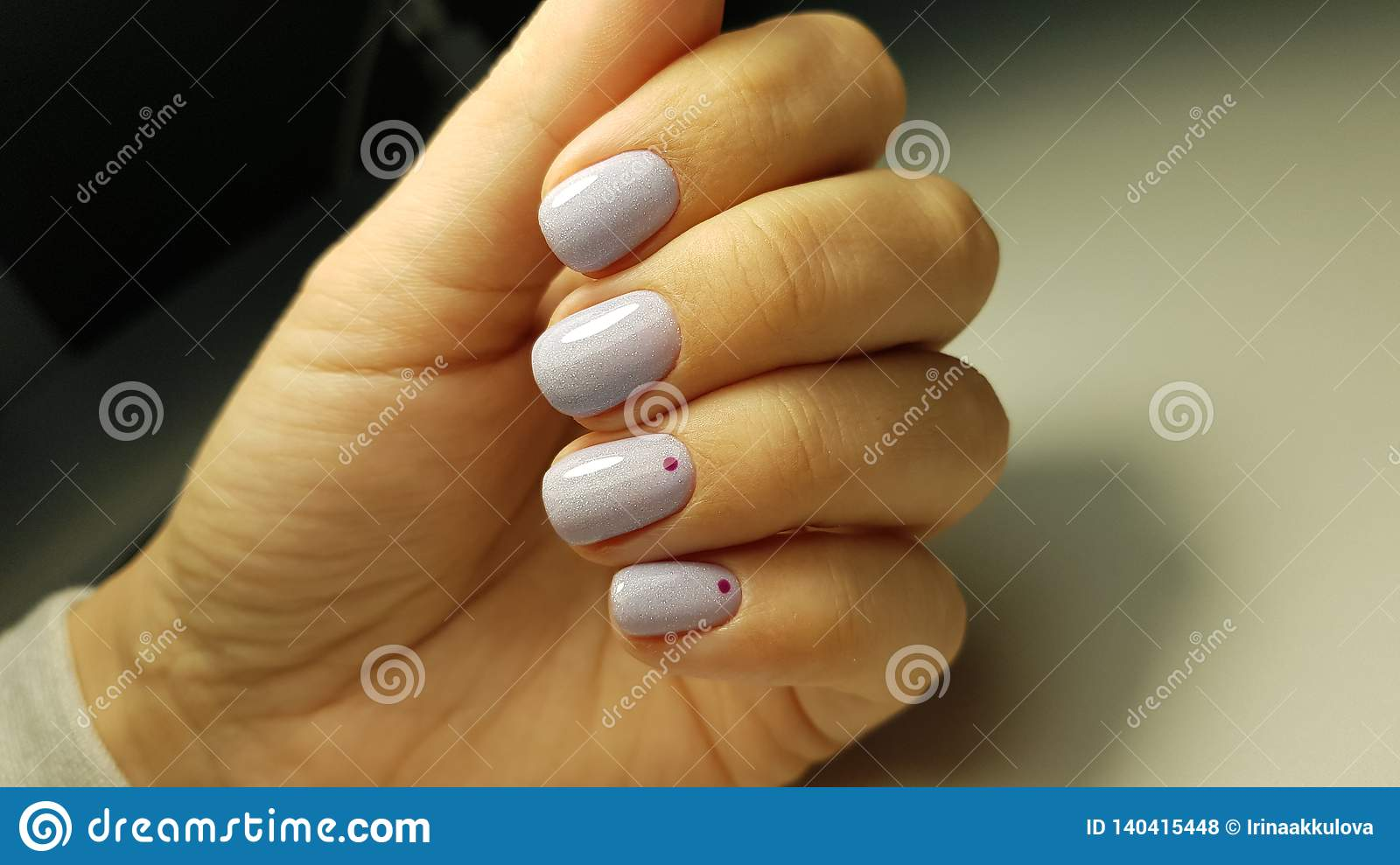 Blue Nails Gel Polish With Minimal Design Stock Photo - Image of ...