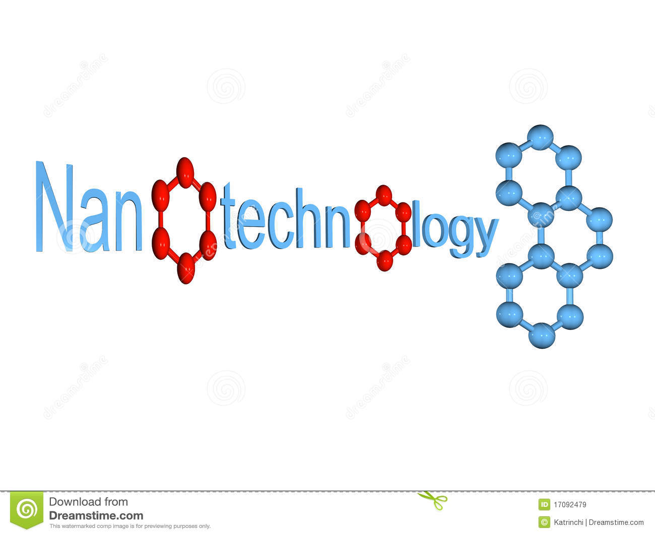 Blue nanotechnology symbol with molecule isolated