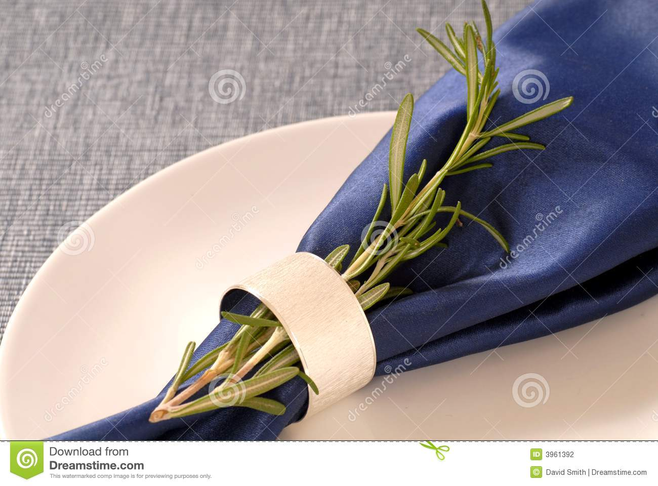 Blue Napkin With A Sprig Of Rosemary Stock Photo Image Of Green Setting 3961392