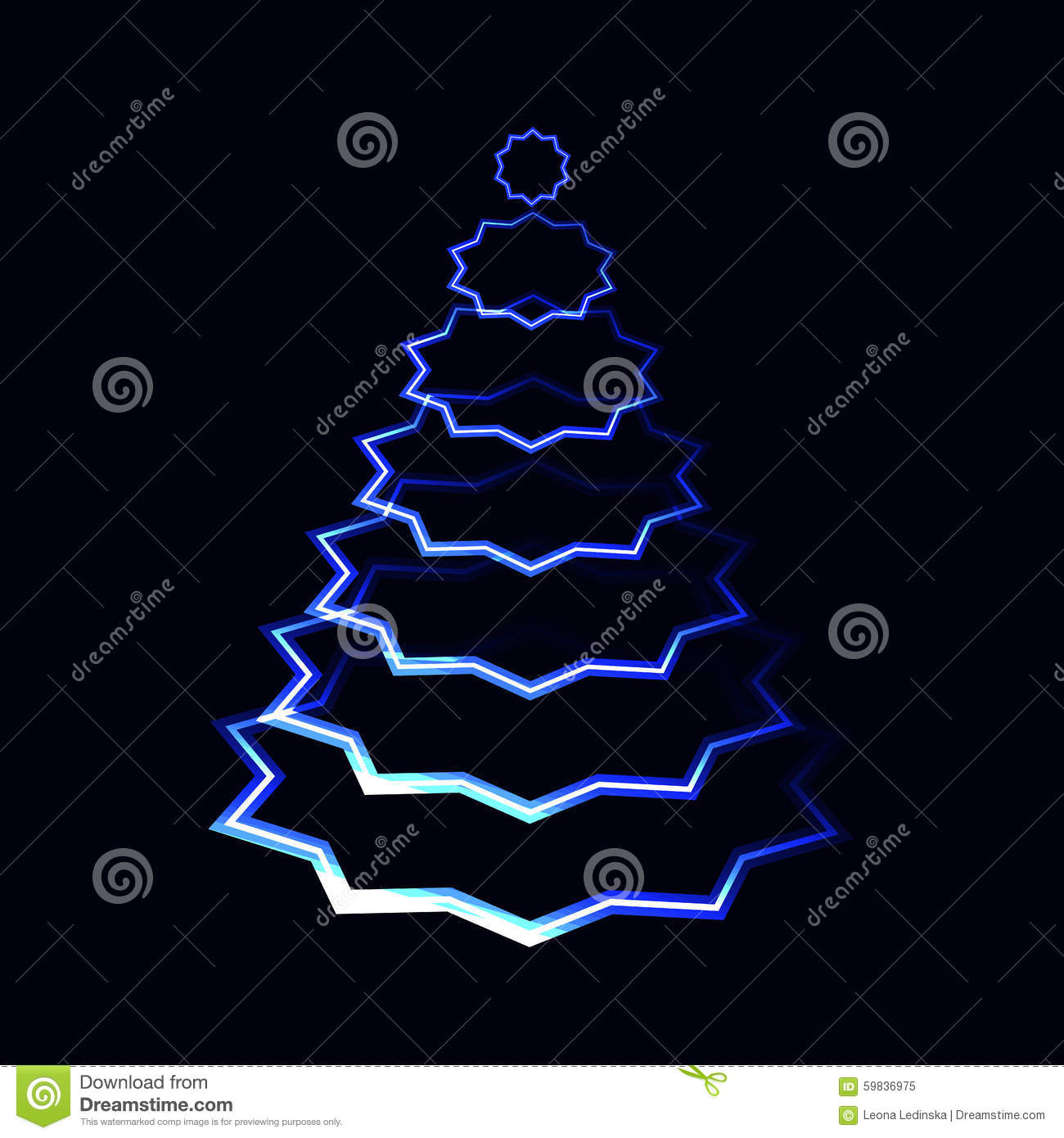 Blue Neon Laser Shining Christmas Tree Made From Stars Layers