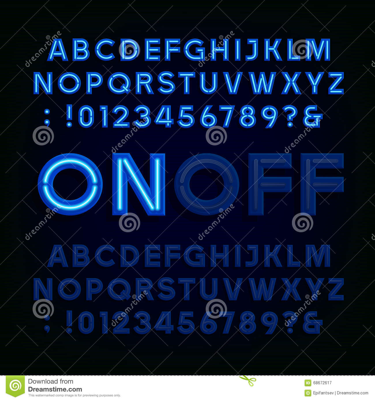 Blue Neon Light Alphabet Font Two Different Styles Lights On Or