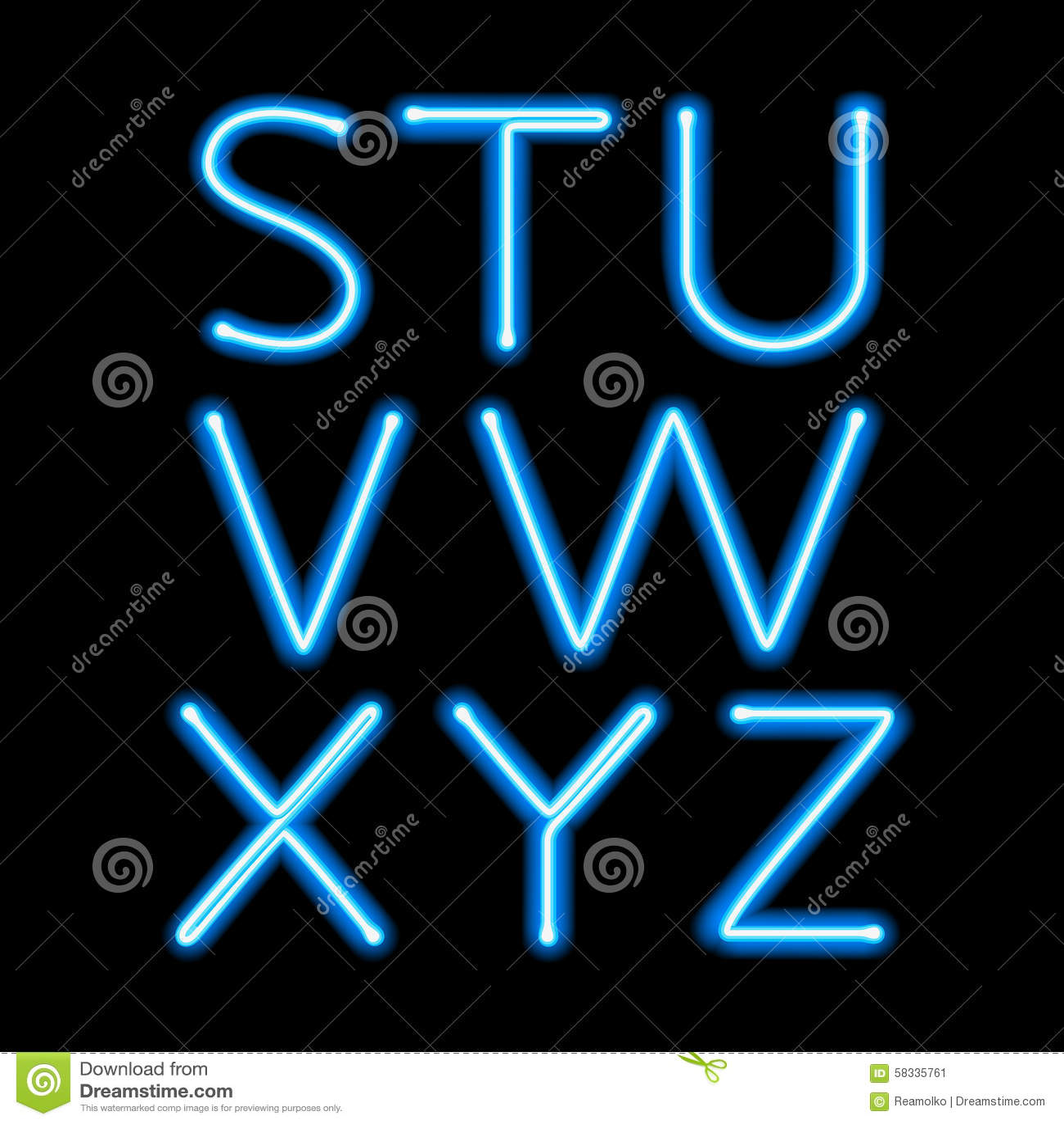 blue neon light glowing letters set stock vector. Black Bedroom Furniture Sets. Home Design Ideas