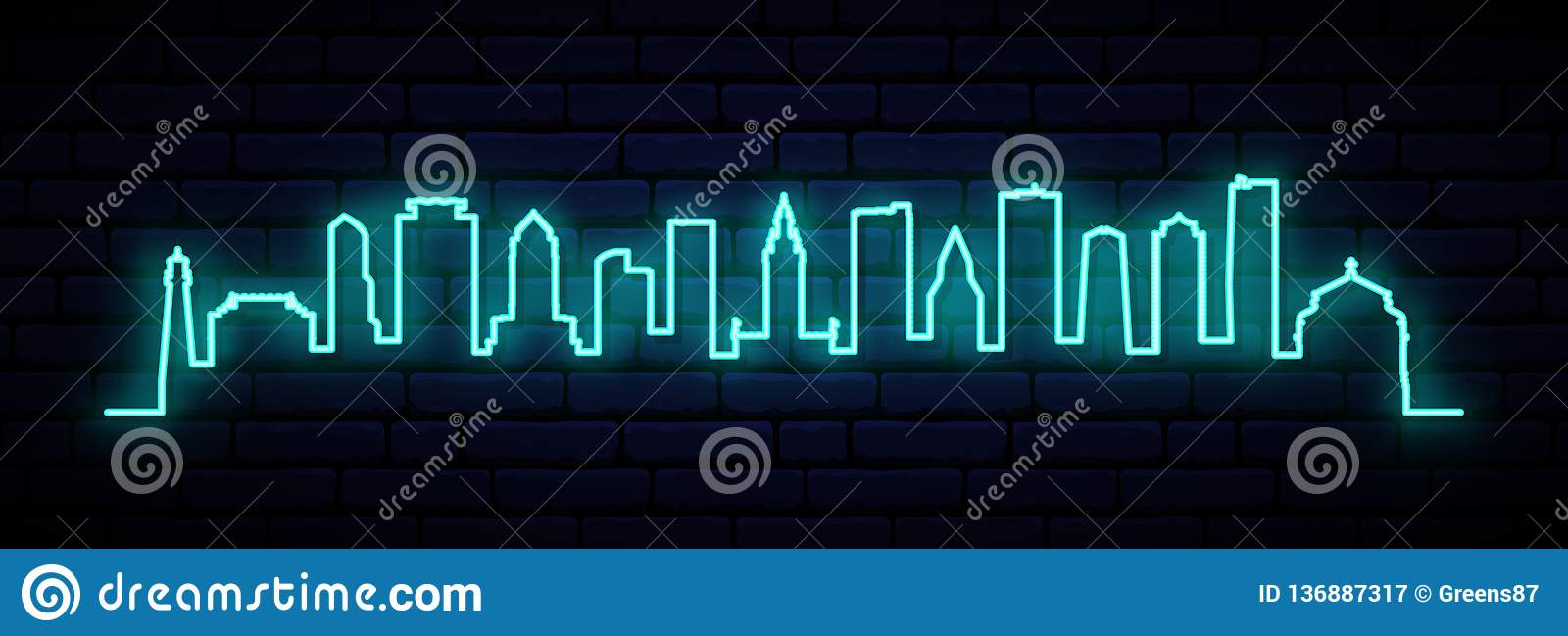 Blue neon skyline of Miami city.
