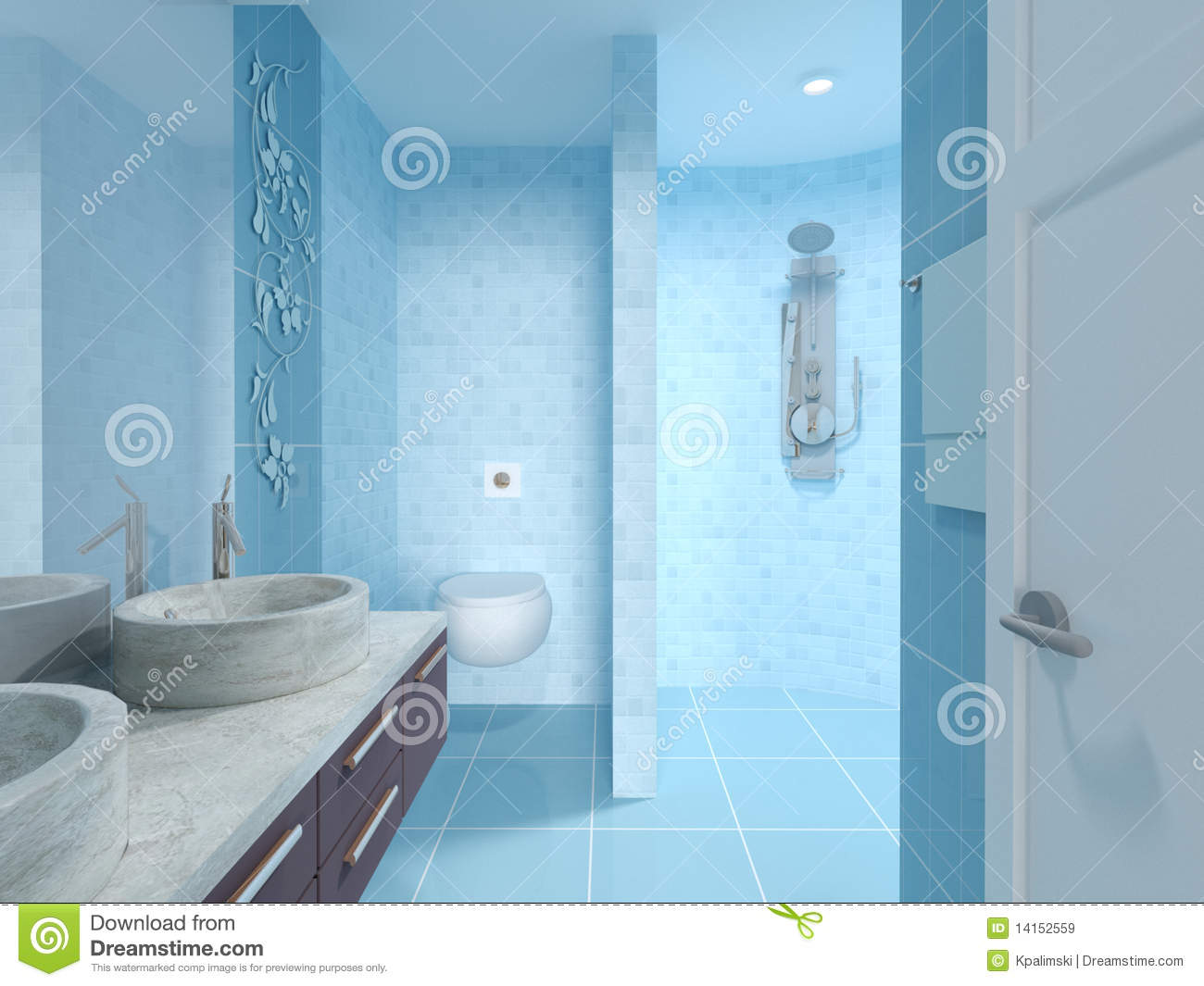 Royalty Free Stock Photo Bathroom Blue Design Interior