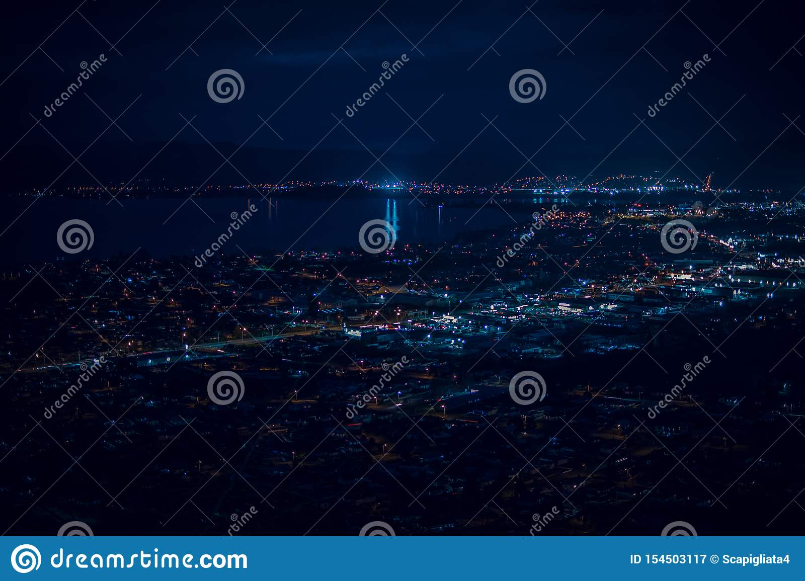 Blue night over Rotorua city and lake Rotorua