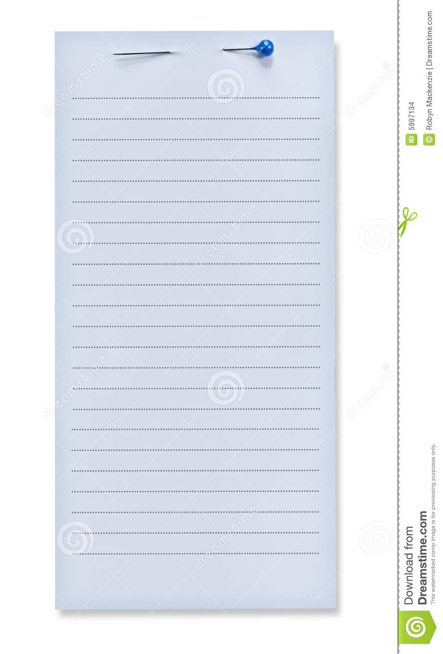 Blue Note Paper with Pin