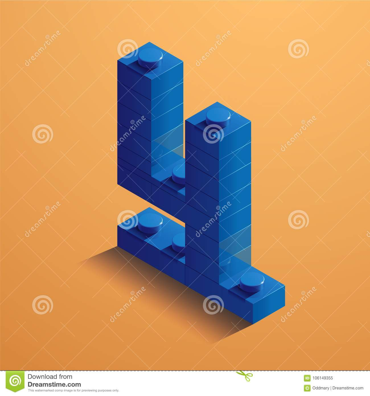 Blue number four of consructor brick on yellow background. 3D Lego brick . Vector illustration