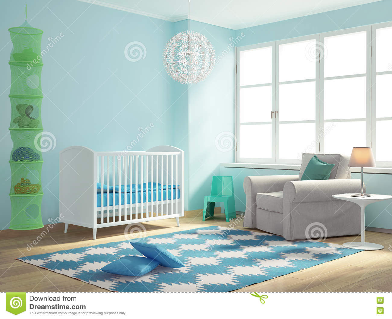 Blue Nursery Baby Room With Rug Stock Image Image Of Flowers