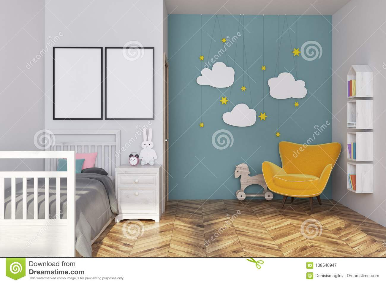 blue nursery interior posters armchair white blue nursery interior gray bed yellow armchair cloud decoration