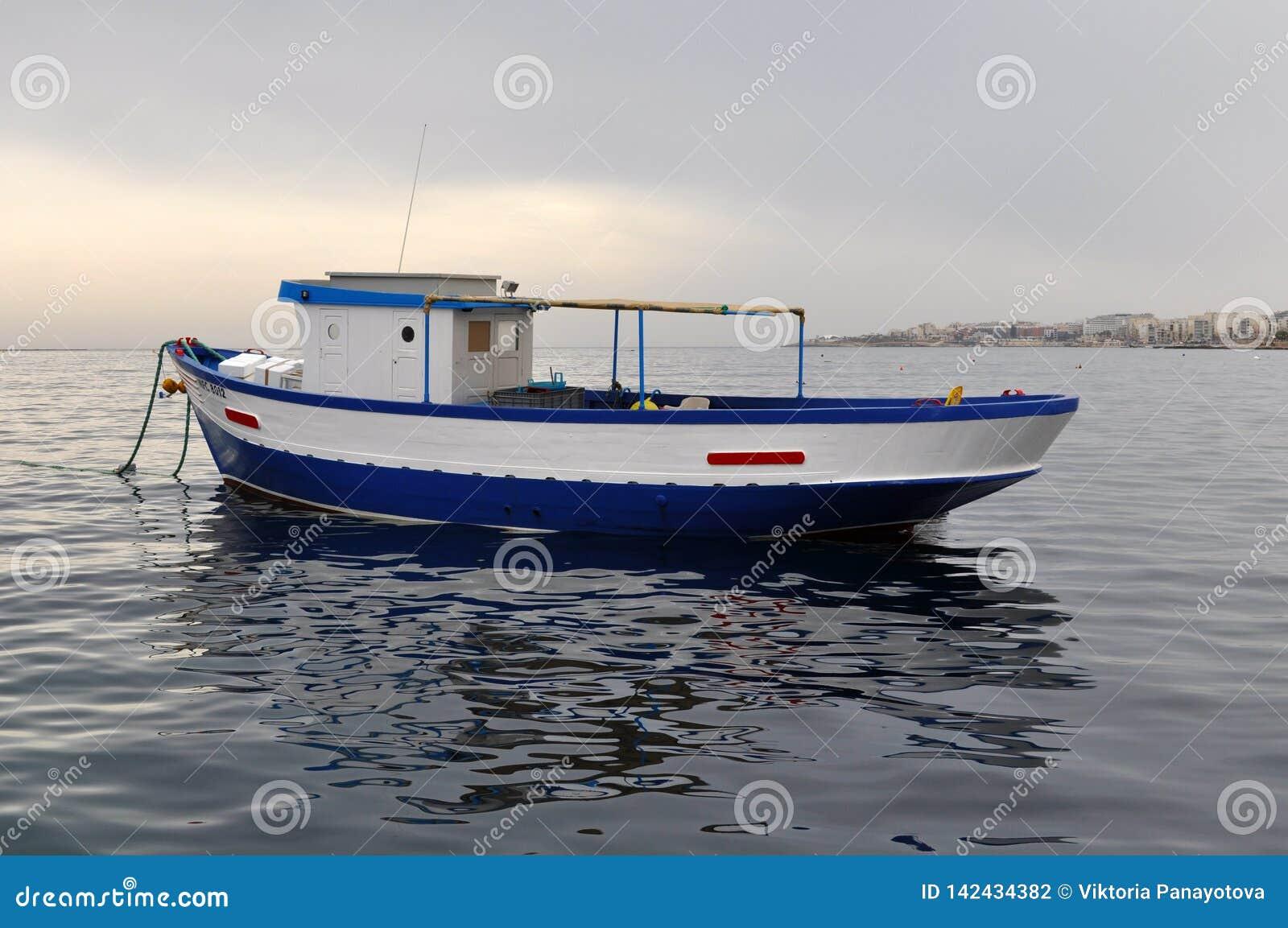 Blue oat in the sea