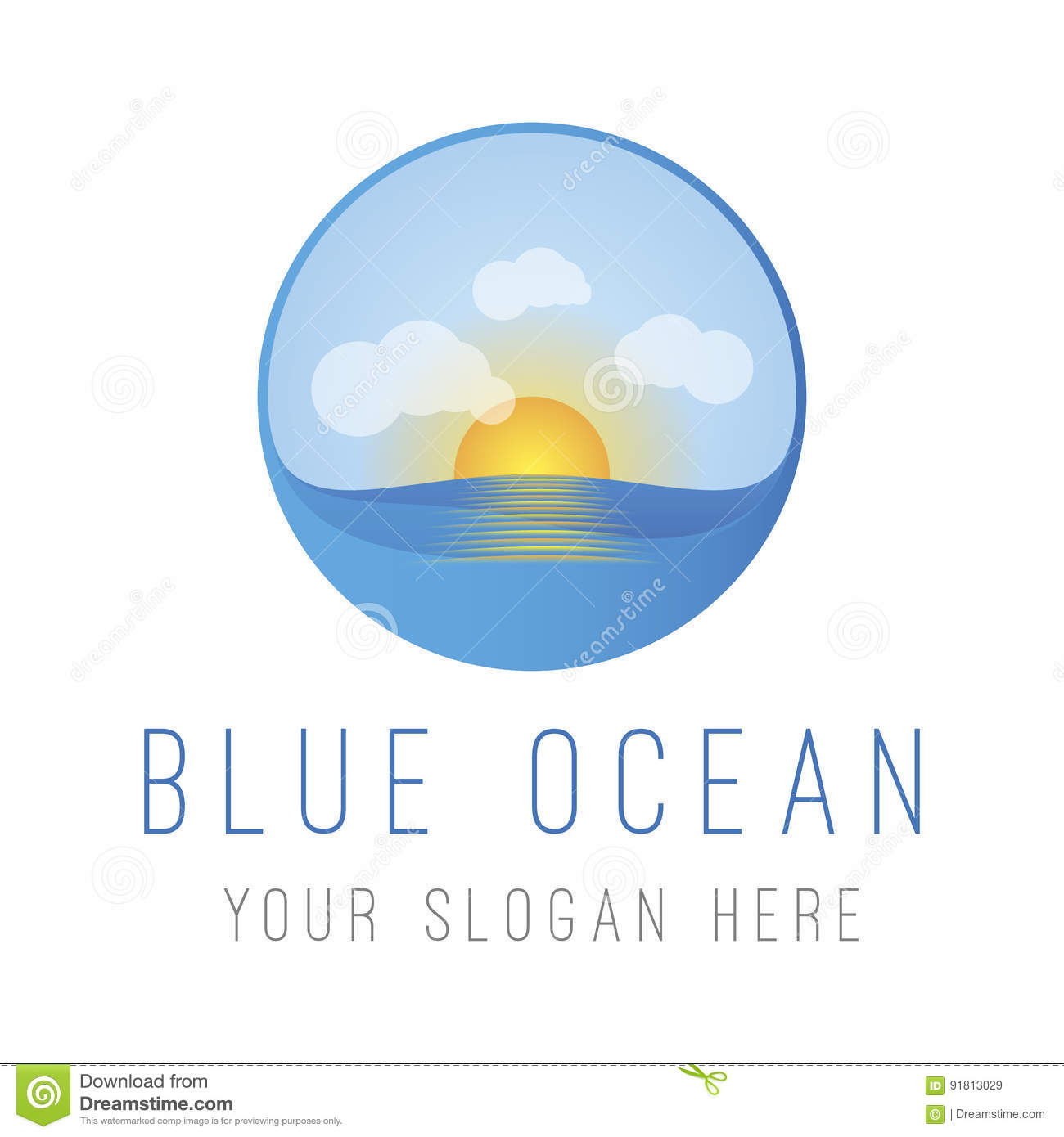 Blue Ocean With Sun Stock Vector Illustration Of Design 91813029
