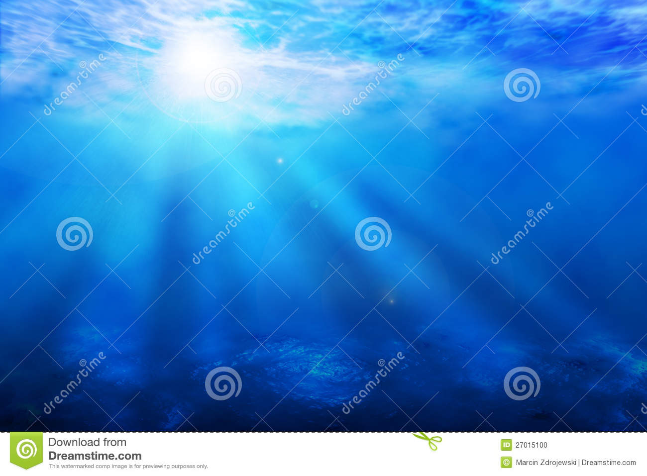 Ocean underwater light blue ocean underwater sun rays