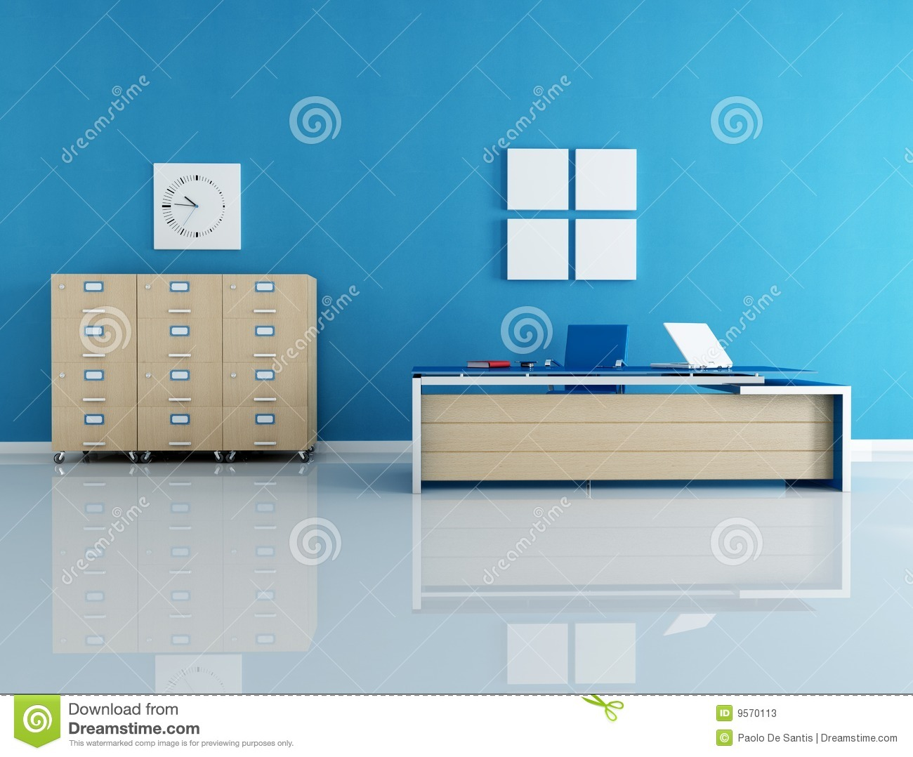 Blue office interior stock illustration image of - Color pinturas para interiores ...